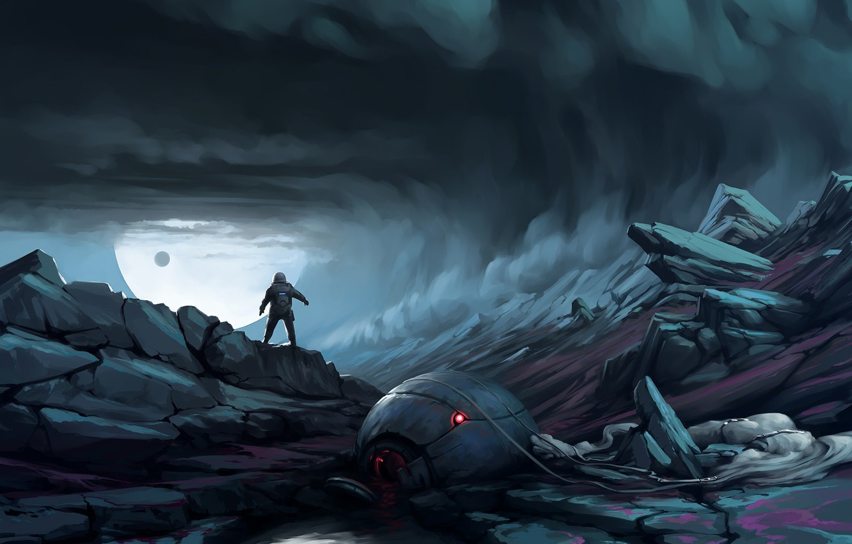 Photo Wallpaper Dark, Moon, Fantasy, Science Fiction, - Dark Sci Fi Fantasy Art , HD Wallpaper & Backgrounds
