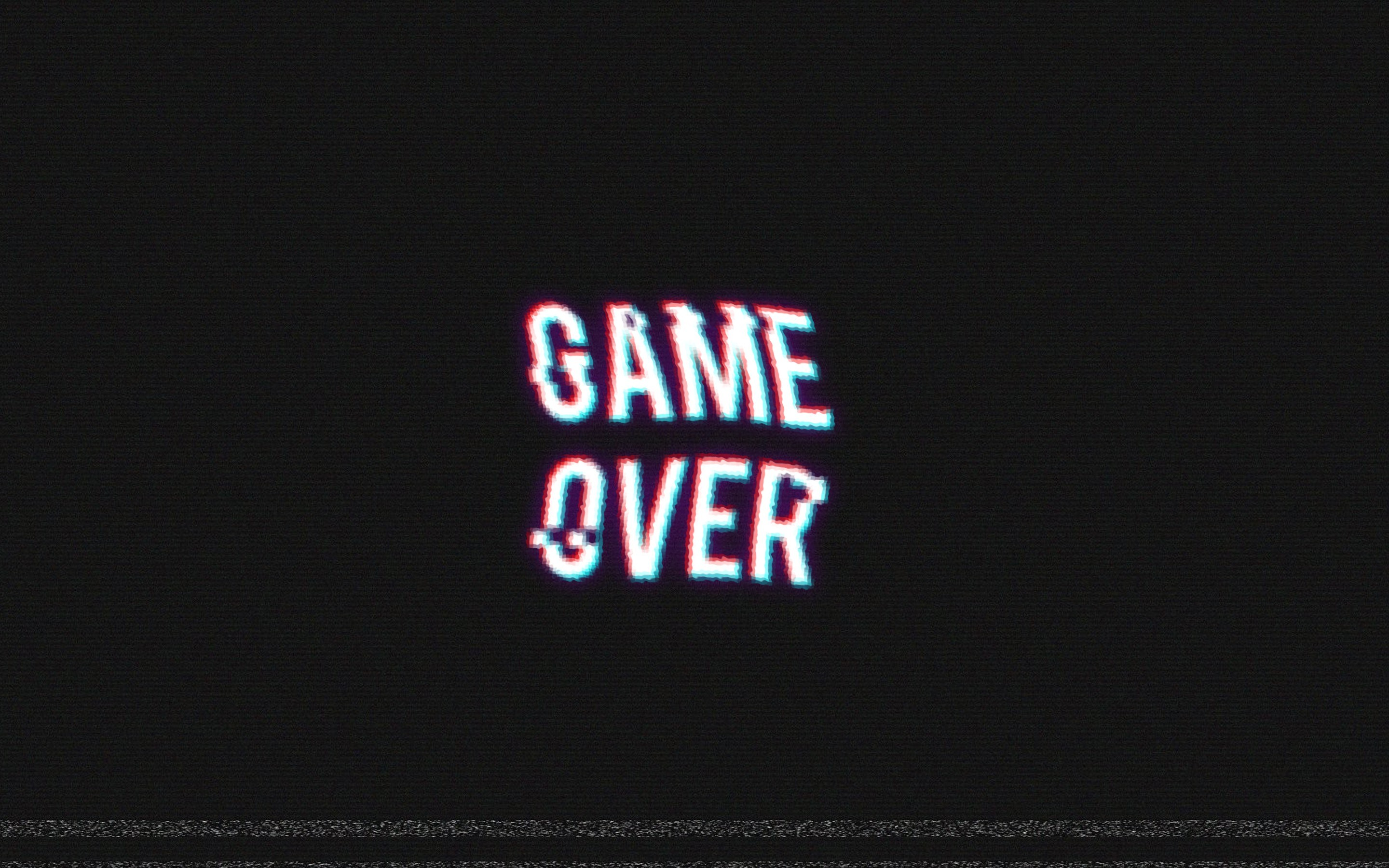 Game Over, Video Games, Retro Games, Distortion Wallpapers - Game Over Black Background , HD Wallpaper & Backgrounds