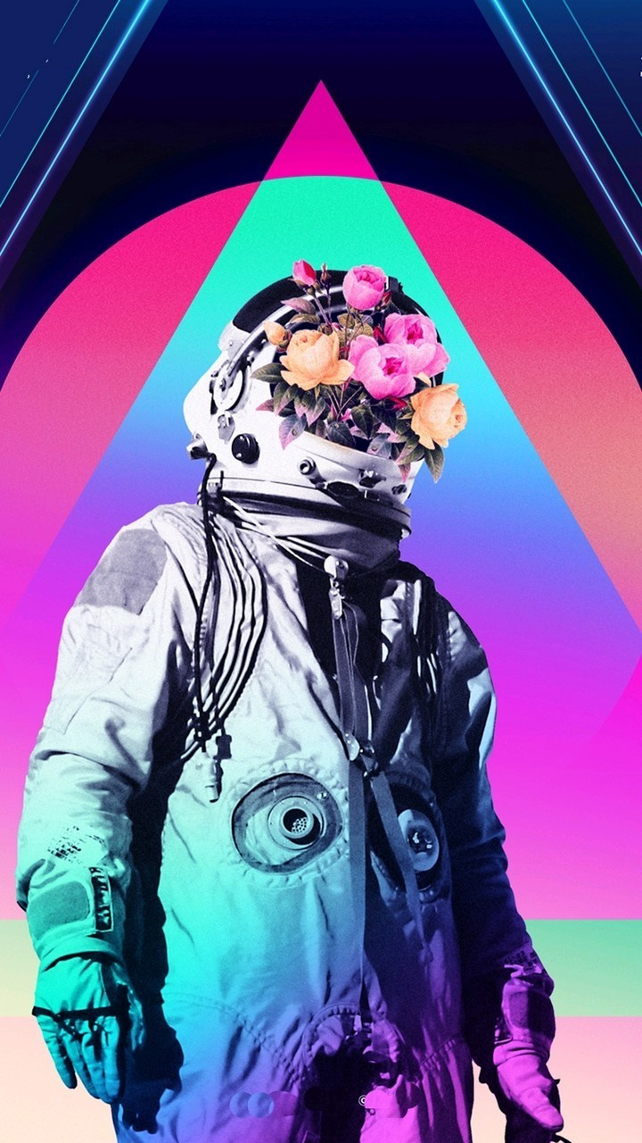 Astronaut, Flowers, And Space Image - Vaporwave Astronaut , HD Wallpaper & Backgrounds