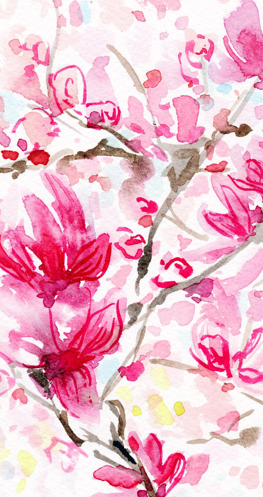 Watercolor Wallpaper Flowers Iphone , HD Wallpaper & Backgrounds