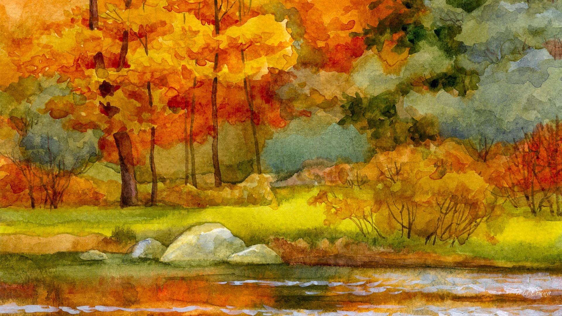 Autumn River Watercolor Wallpaper - Watercolor Autumn Desktop Background , HD Wallpaper & Backgrounds