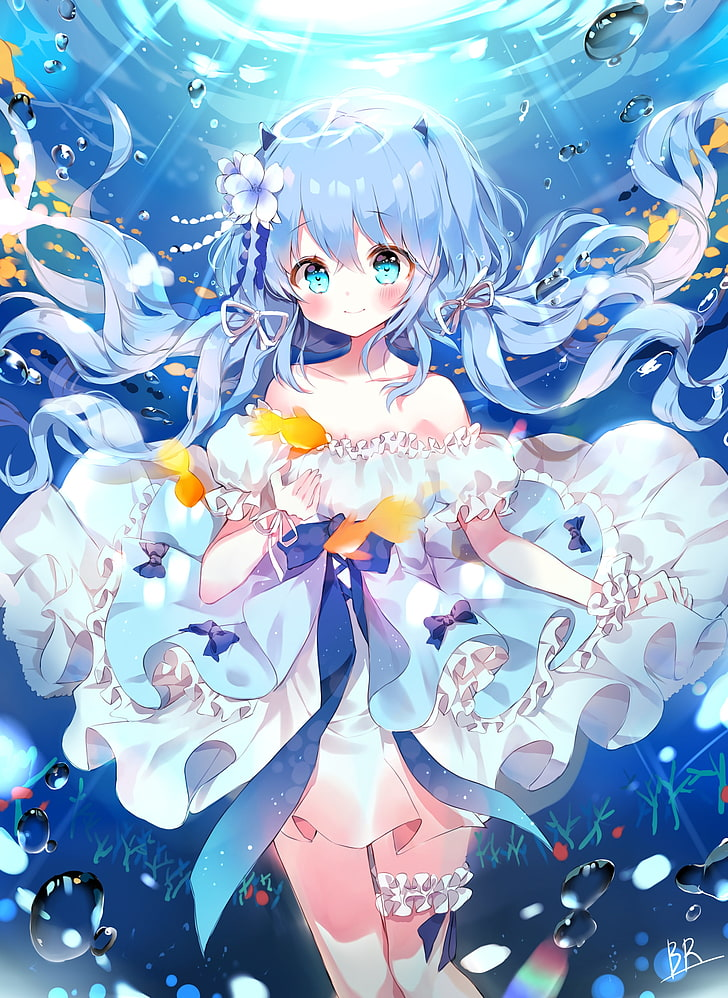 Hatsune Miku, Cute, Smiling, Loli, Underwater, Bubbles, - Anime Cute Hatsune Miku , HD Wallpaper & Backgrounds