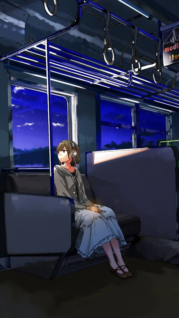 Anime Girl, Wagon, Sad Wallpaper For Android &amp - Sitting , HD Wallpaper & Backgrounds