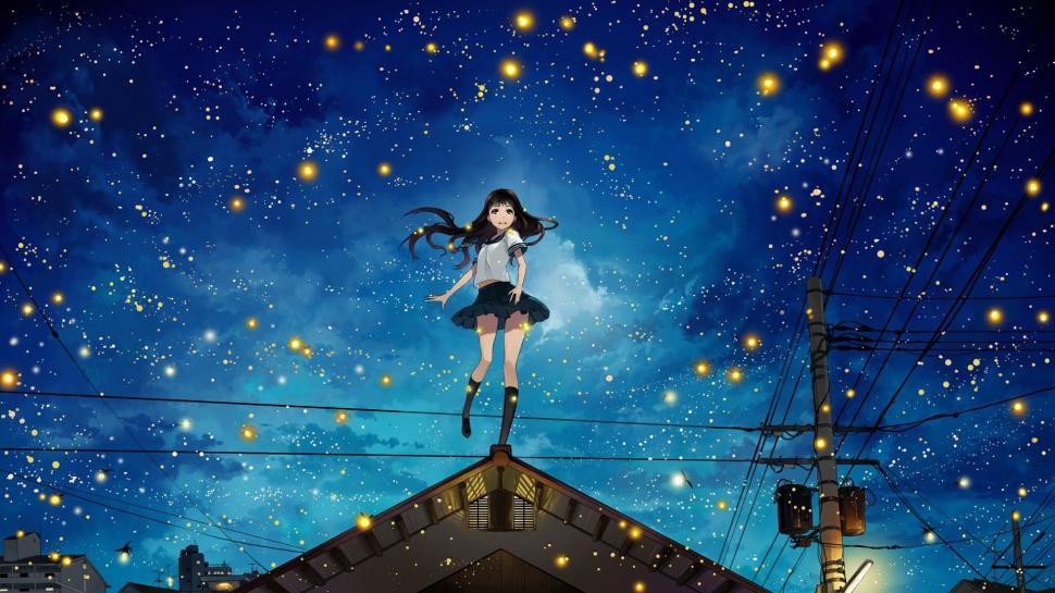 Anime Girls At Night Sky Hd Wallpaper - Anime Night Sky , HD Wallpaper & Backgrounds