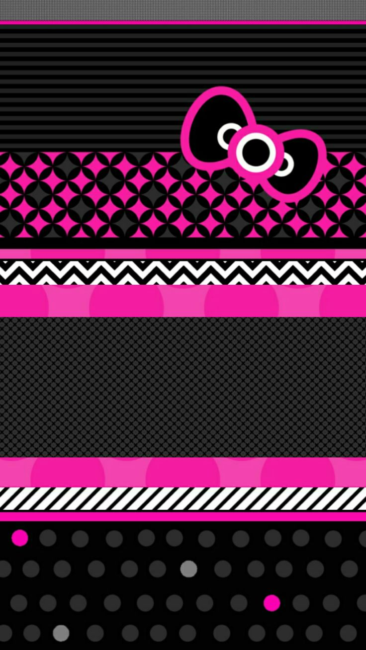 Hello Kitty Pink And Black Love Wallpaper Mobile On Pink