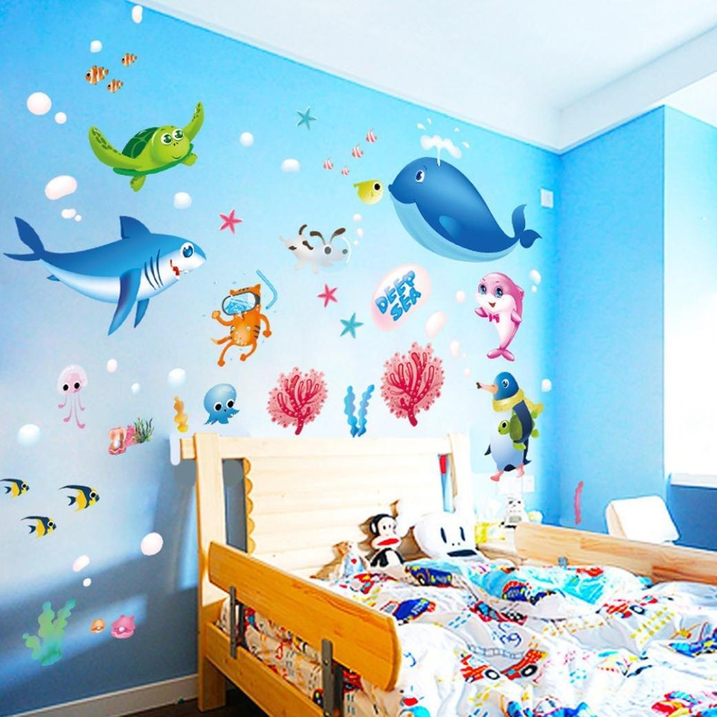 Woaills Wall Sticker, Colorful Fish Shark Ocean Wallpaper - Fish Wall Stickers , HD Wallpaper & Backgrounds