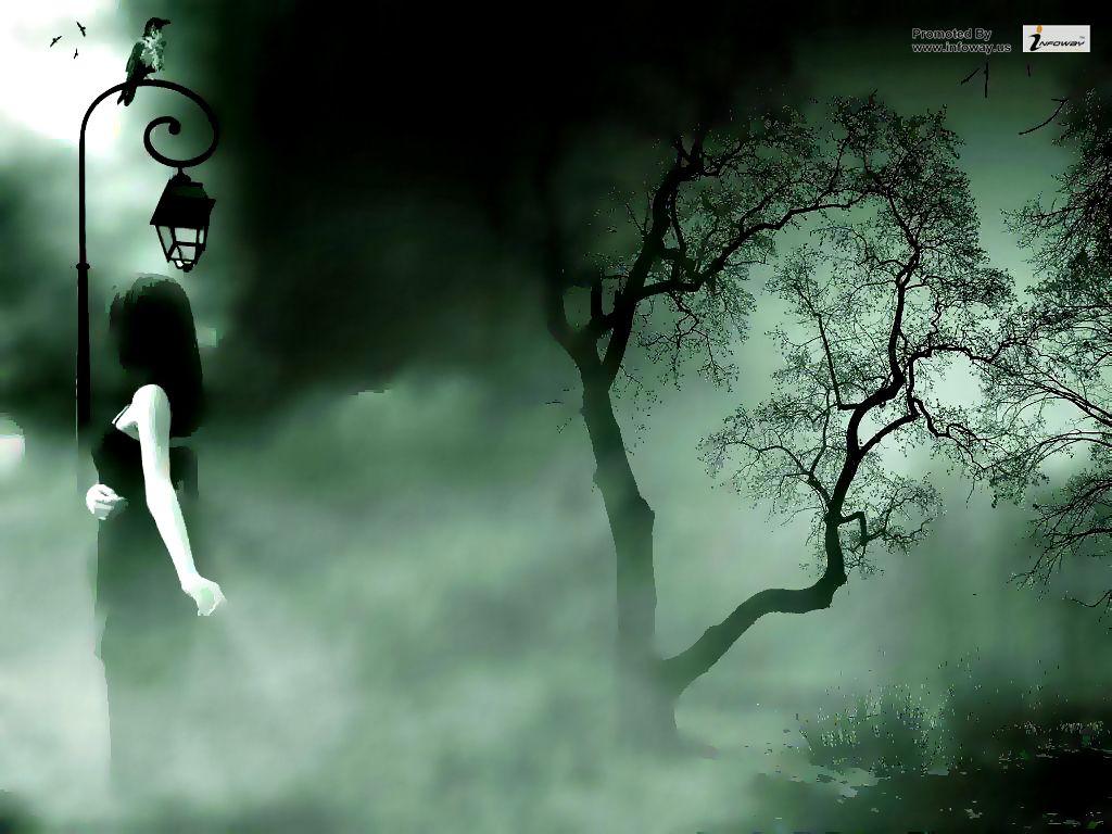 Leave Dark Forest Wallpaper - Girl In A Dark Forest , HD Wallpaper & Backgrounds