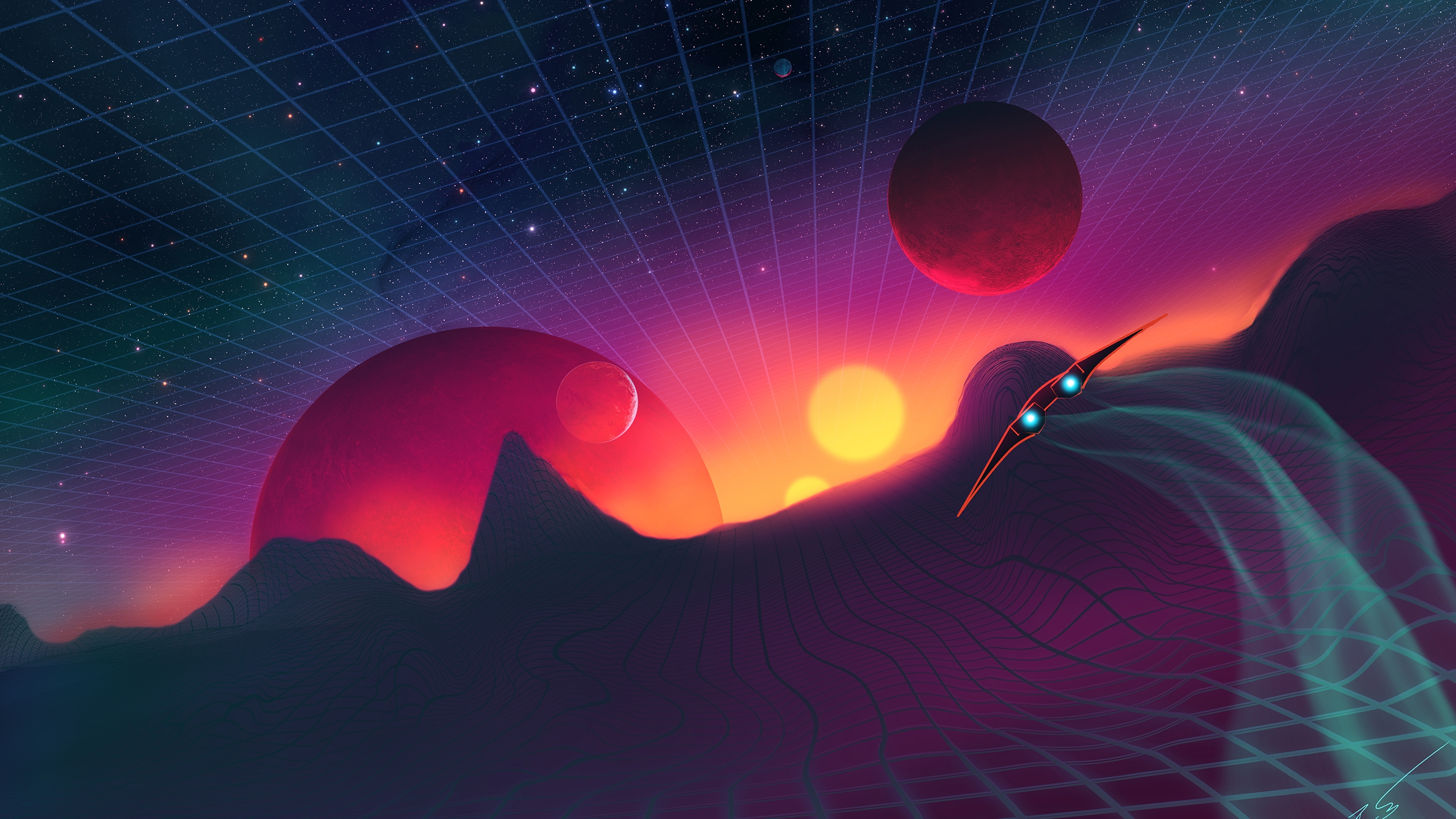 30 309932 synthwave landscape planets retrowave spaceship retro wave wallpaper