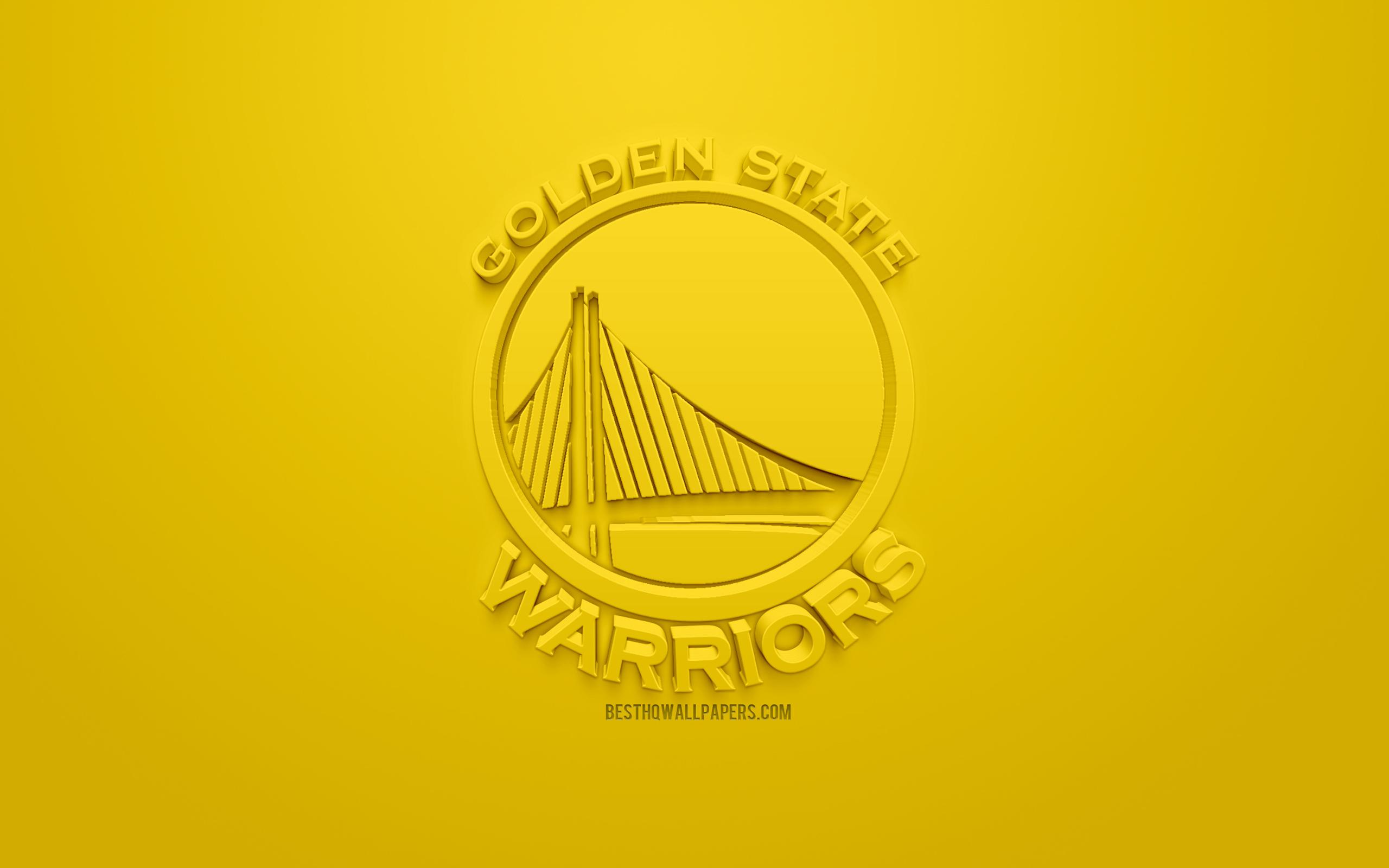 Golden State Warriors, Creative 3d Logo, Yellow Background, - Golden State Warriors Pc , HD Wallpaper & Backgrounds