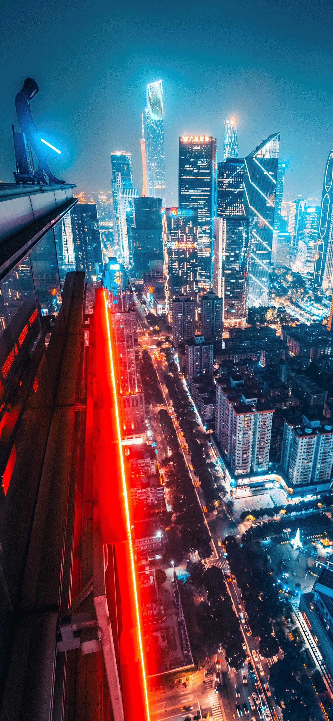 1125x2436, Iphone Wallpaper City Night Guangzhou City - Iphone X Wallpaper City Night , HD Wallpaper & Backgrounds