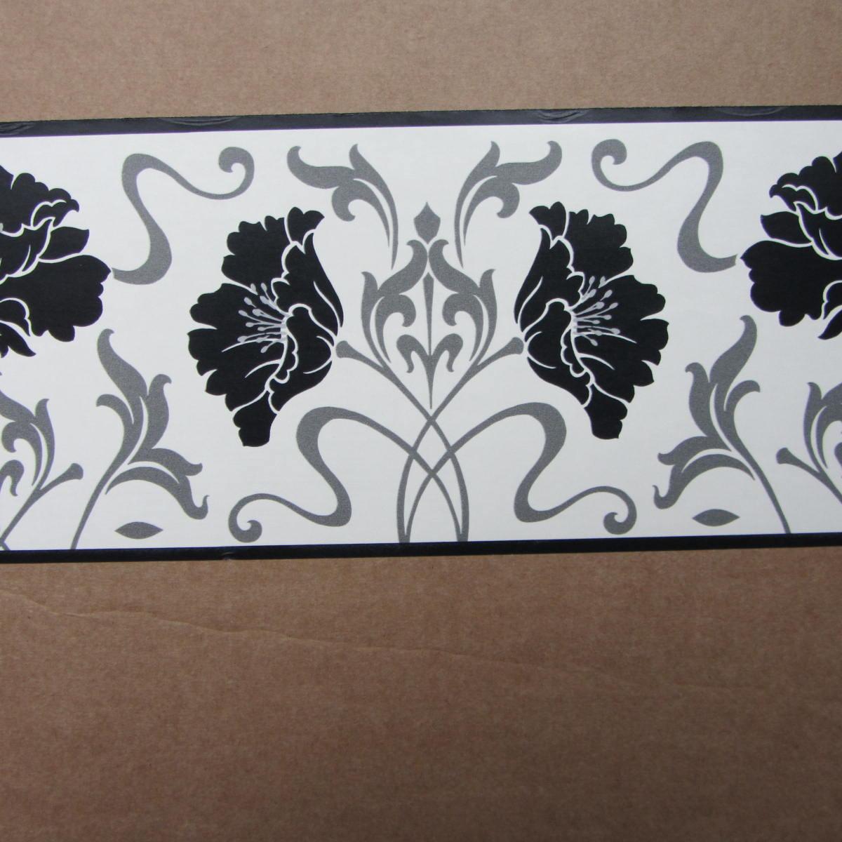 Floral Damask Black White Wallpaper Border Self Adhesive - Modern Grey Wallpaper Border , HD Wallpaper & Backgrounds