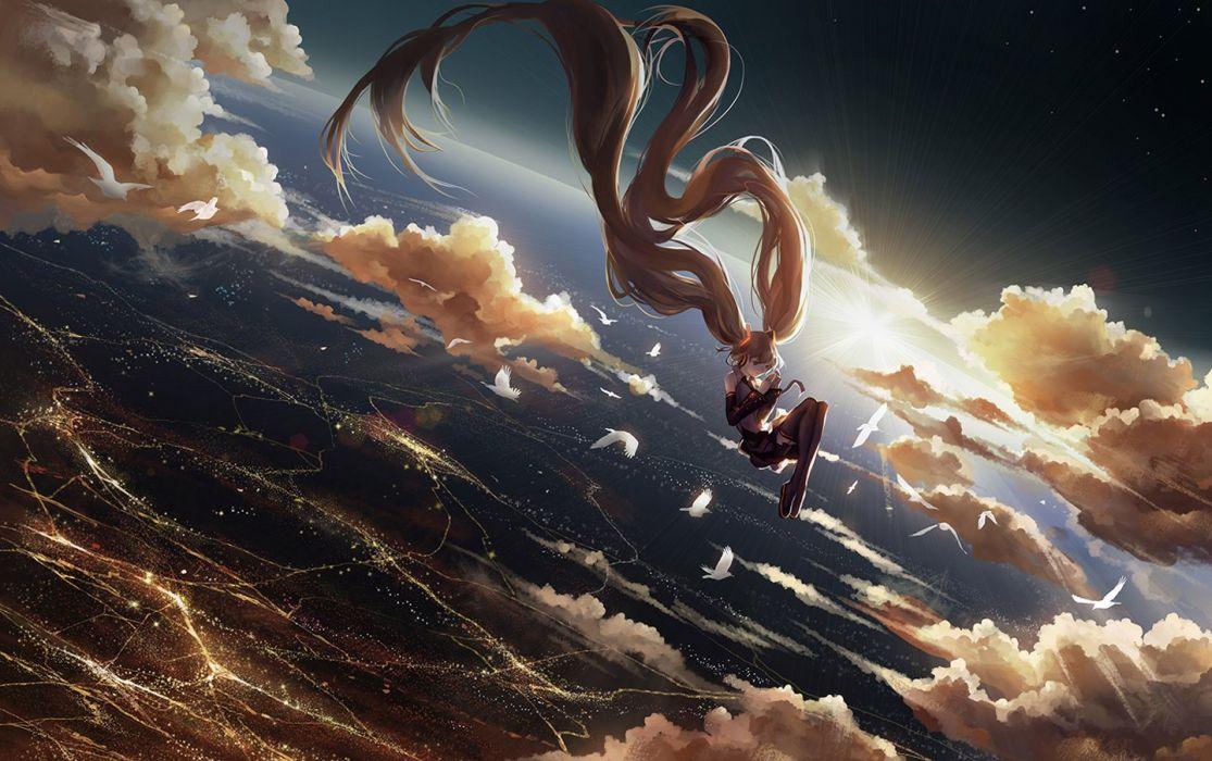 Sky Vocaloid Animal Bird Sunshine Anime Girl Fly Wallpaper - Angel Falling To Earth , HD Wallpaper & Backgrounds