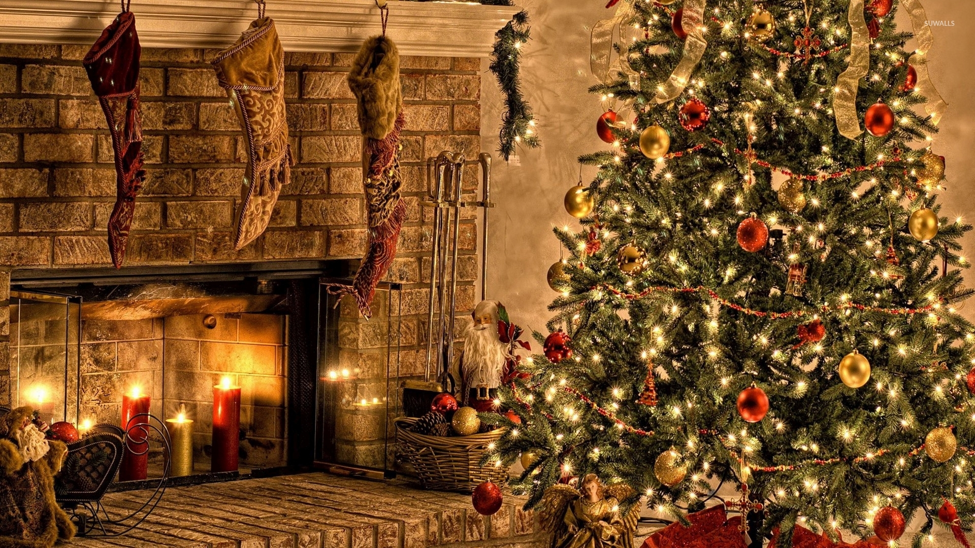 Christmas Fireplace Backgrounds Free , HD Wallpaper & Backgrounds