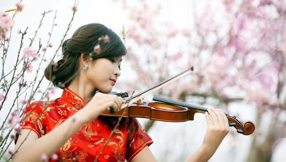 Girl, Asian, Music, Violin Desktop Background - Asian Girl Playing Violin , HD Wallpaper & Backgrounds