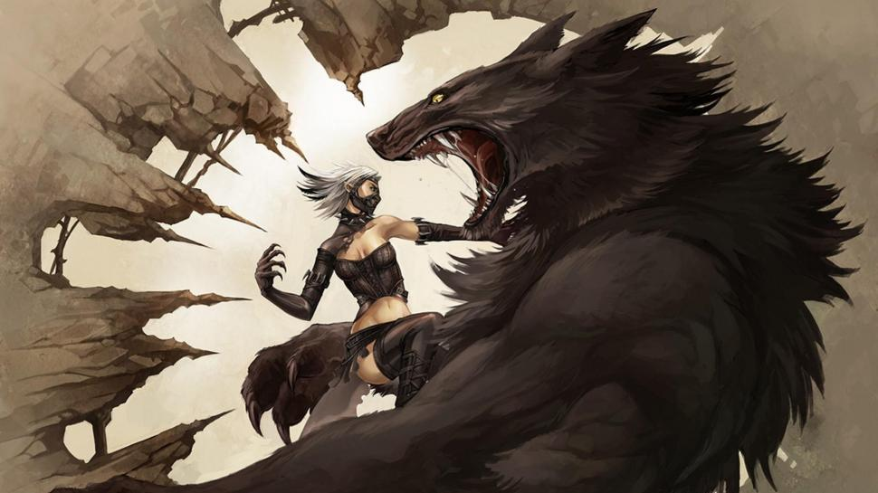 Werewolf Wallpaper,werewolf Hd Wallpaper,creatures - Vampire Vs Werewolf Art , HD Wallpaper & Backgrounds