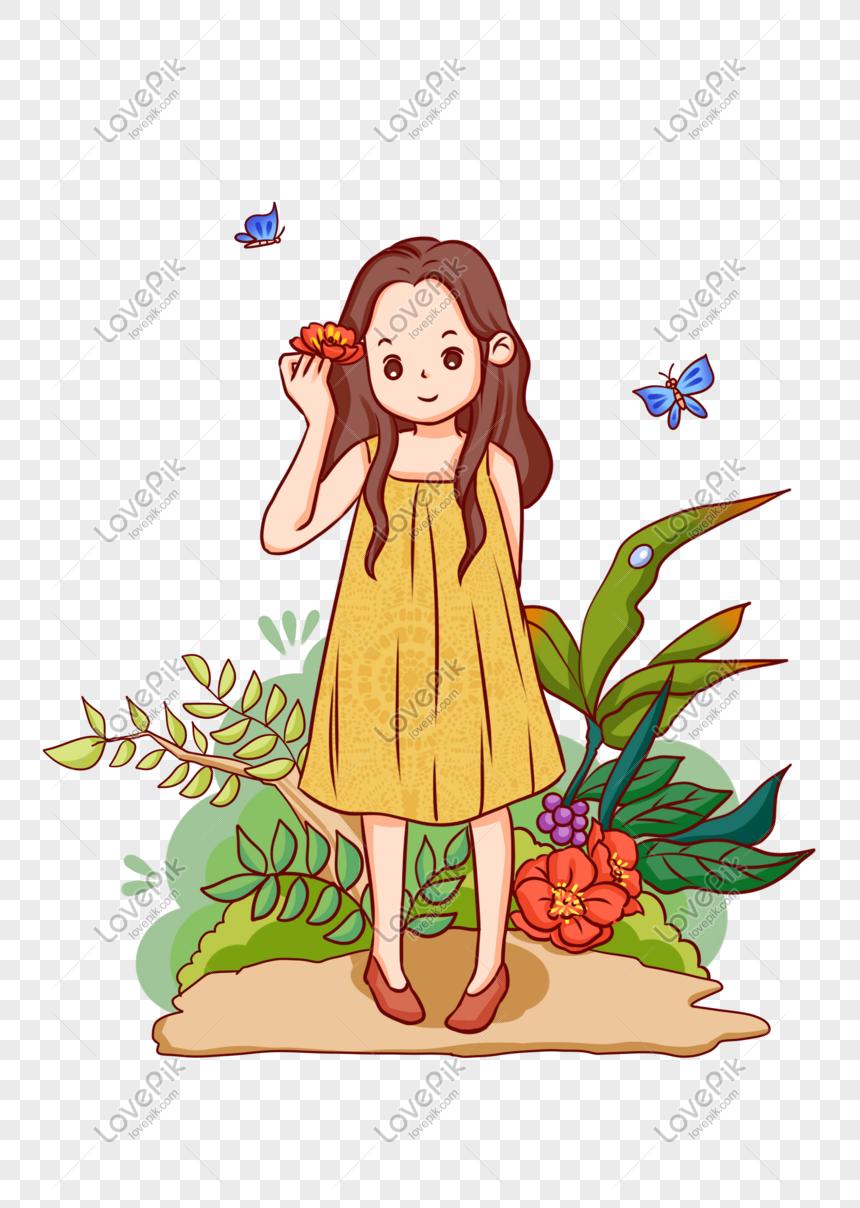 Twenty Four Solar Terms Cute Cute Cartoon Girl Illustration - Girl In Nature Simple Cartoon , HD Wallpaper & Backgrounds