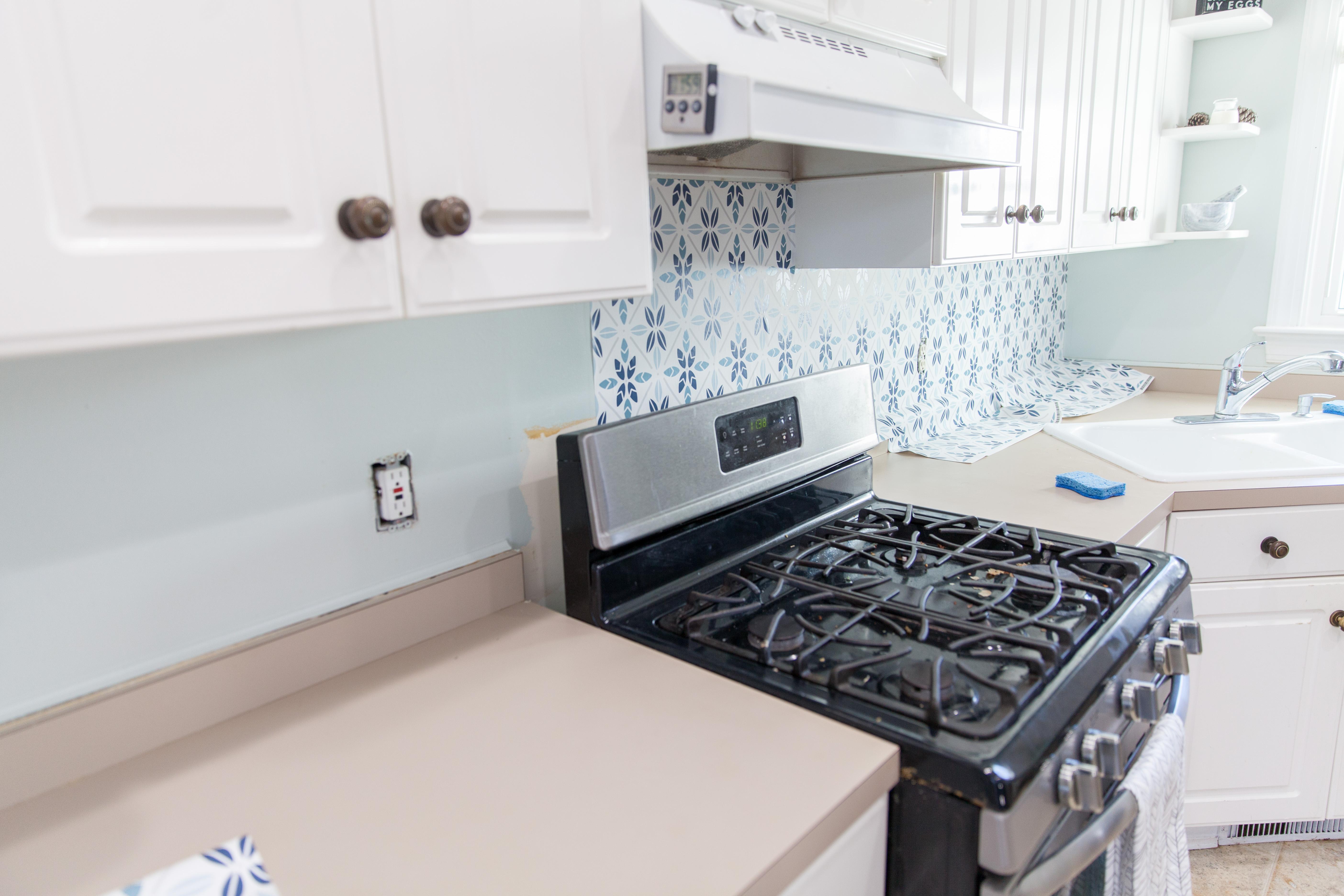 Image of: Easy Faux Tile Backsplash With Eco Friendly Wallpaper Diy Wallpaper Kitchen Backsplash 3070870 Hd Wallpaper Backgrounds Download
