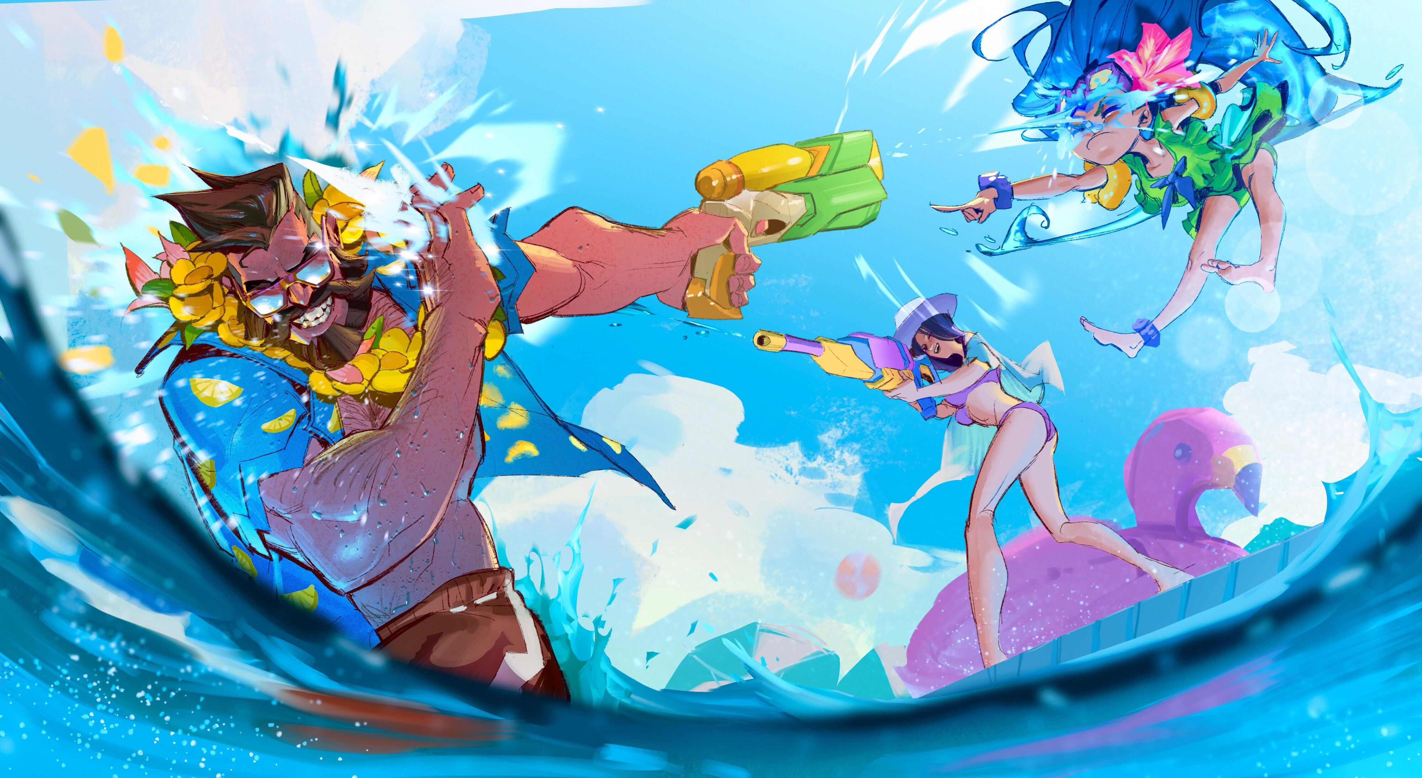 Pool Party Zoe, Caitlyn & Gangplank By 归途 Hd 4k Wallpaper - League Of Legends Pool Party Fanart , HD Wallpaper & Backgrounds