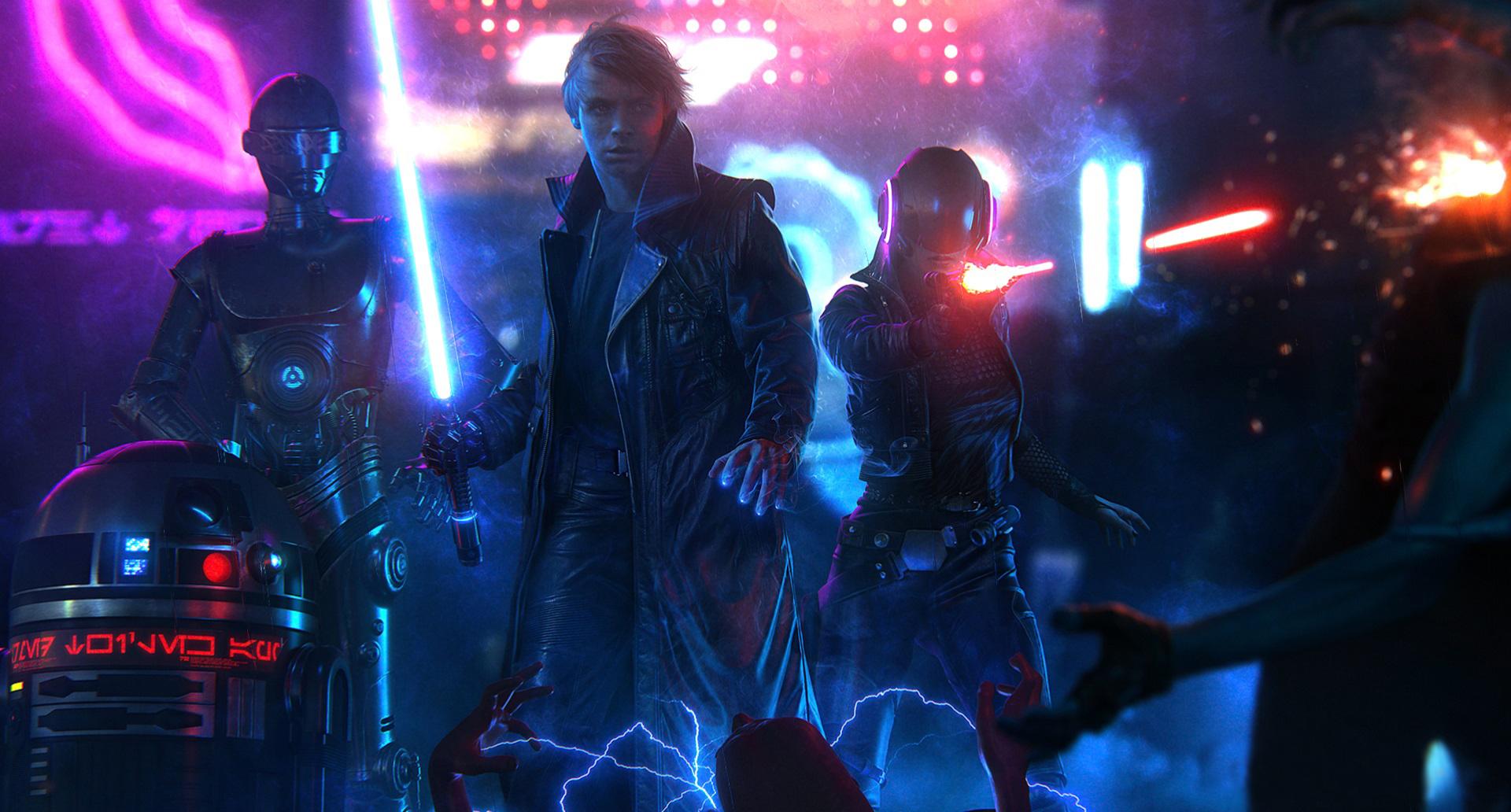 Star Wars Blade Runner Luke Skywalker Free Sci-fi Animated - Star Wars Cyberpunk Art , HD Wallpaper & Backgrounds