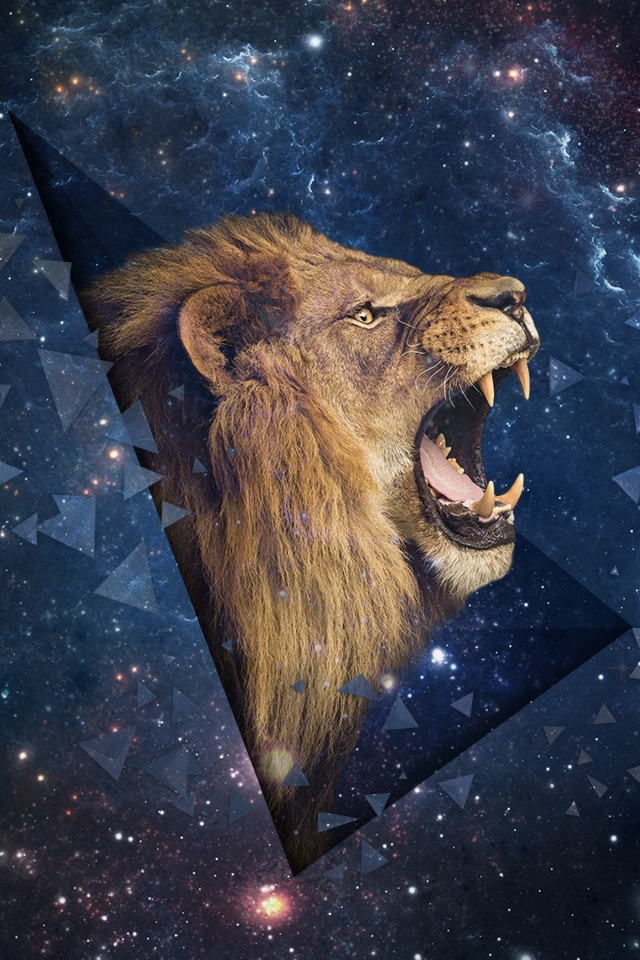 Space Leo Shouting Lion Iphone 4s Wallpaper - Roaring Lion Side View , HD Wallpaper & Backgrounds
