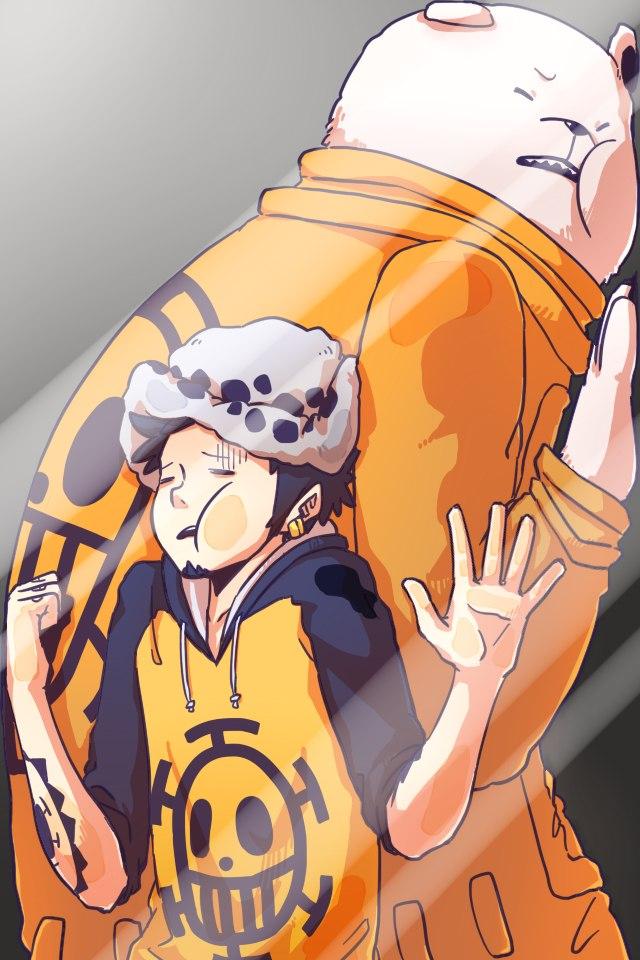 Anime Lockscreen Trafalgar Law And Bepo One Piece - Phone Lock Screen One Piece , HD Wallpaper & Backgrounds