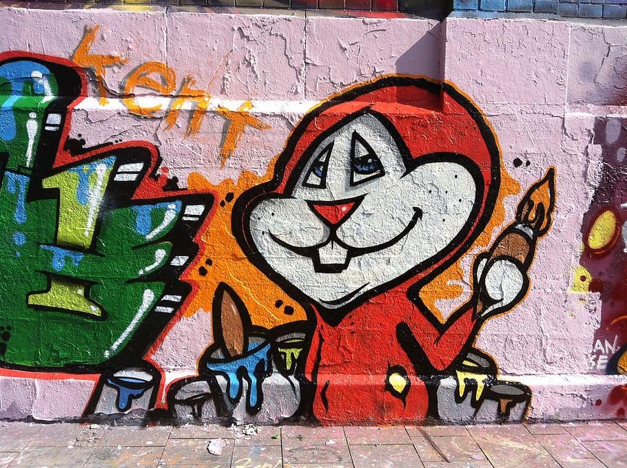 Graffiti, Spray, Road, Wall, Art, Comic, Hare, Painter, - Wall Art In Road , HD Wallpaper & Backgrounds