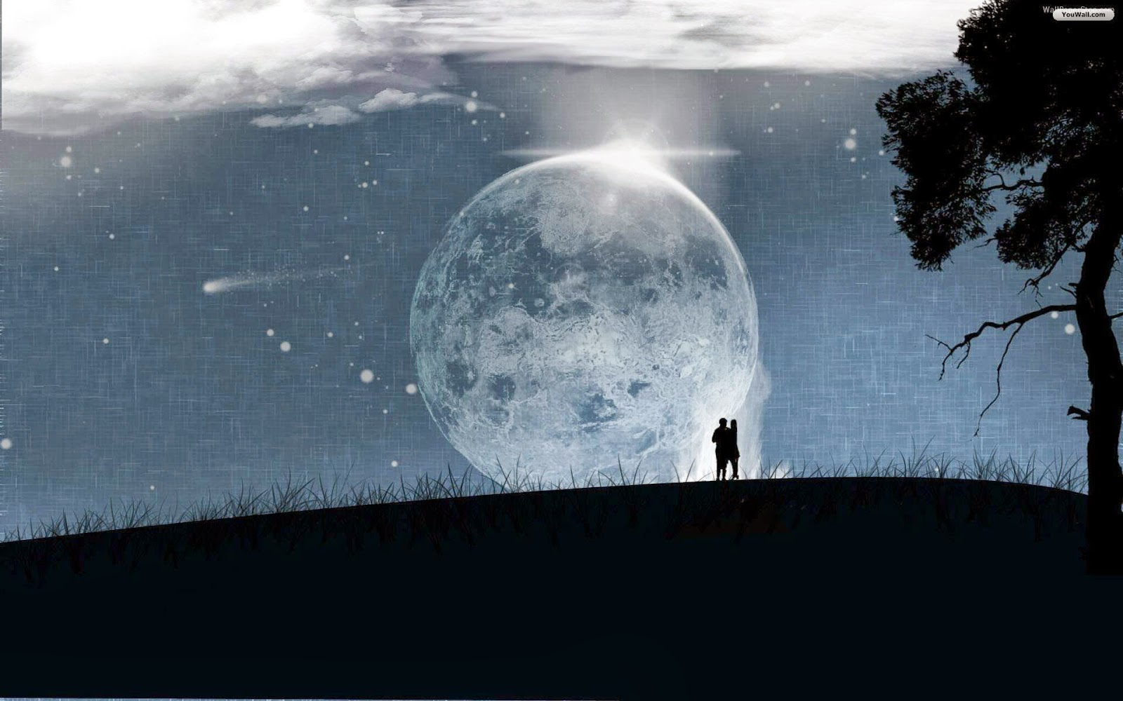 Full Moon Romantic Wallpaper Wide - Love Under The Moon , HD Wallpaper & Backgrounds