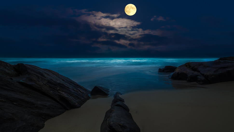 Rocks, The Full Moon, Night, Beach, Sea, The Moon Desktop - Aguada Fort , HD Wallpaper & Backgrounds