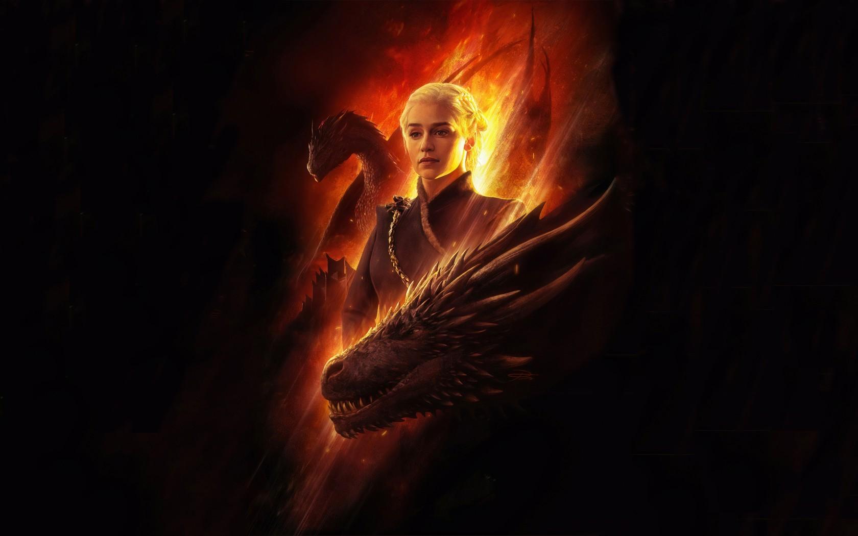 House Targaryen, Game Of Thrones, Flames, Dragon, Artwork, - Daenerys Targaryen , HD Wallpaper & Backgrounds