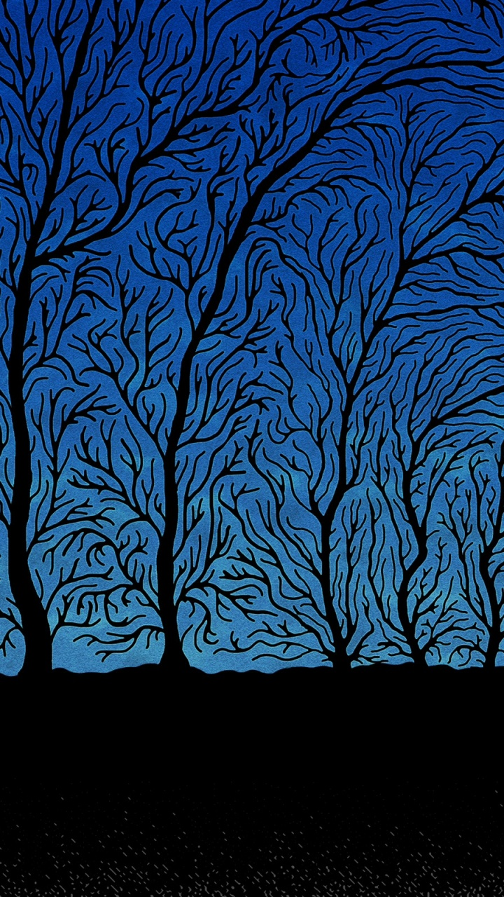 Blue Silhouettes Galaxy S3 Wallpaper - Haunted Trees , HD Wallpaper & Backgrounds