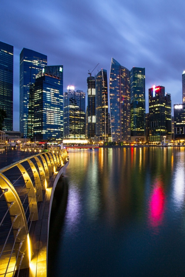 Singapore Skyscrapers Night , HD Wallpaper & Backgrounds