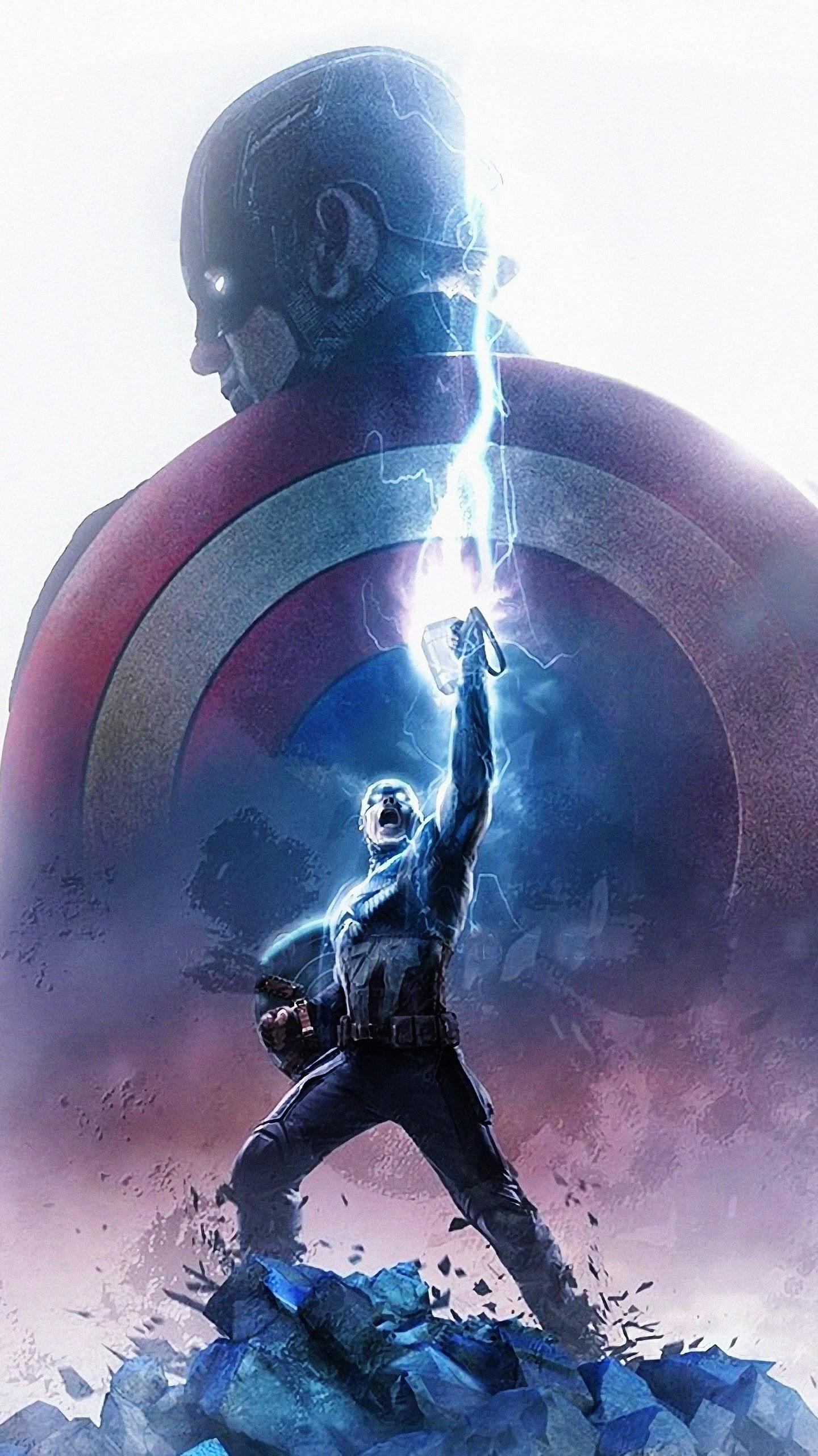 Avengers Endgame Captain America Thor Hammer Lightning - Captain America Wallpaper 4k , HD Wallpaper & Backgrounds
