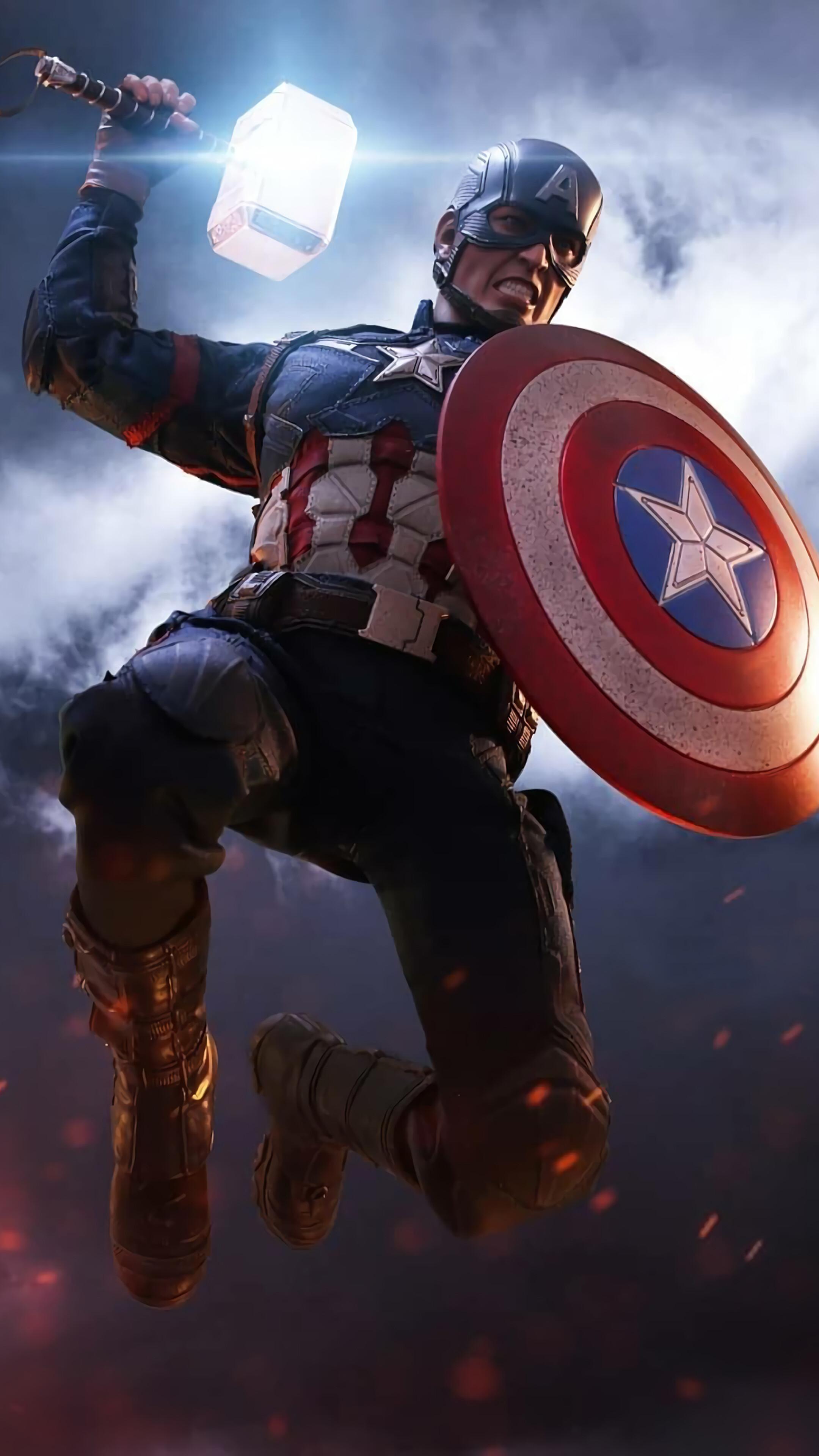 Captain America, Mjolnir, Hammer, Shield, Avengers - Captain America With Thors Hammer , HD Wallpaper & Backgrounds