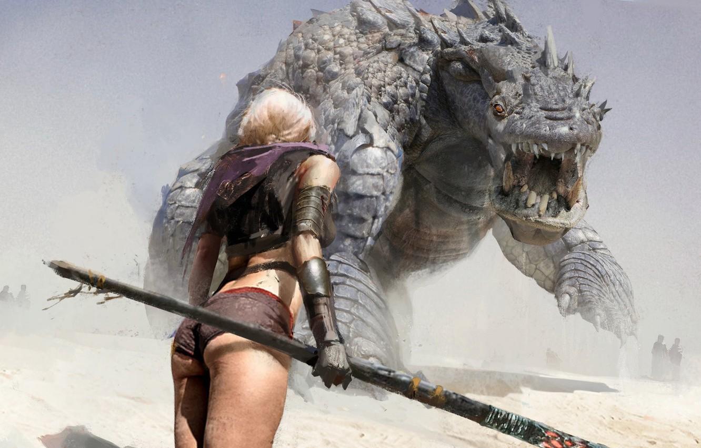 Photo Wallpaper Weapons, Girl, Monster, Spear, Beast, - Monster Hunter Girl , HD Wallpaper & Backgrounds