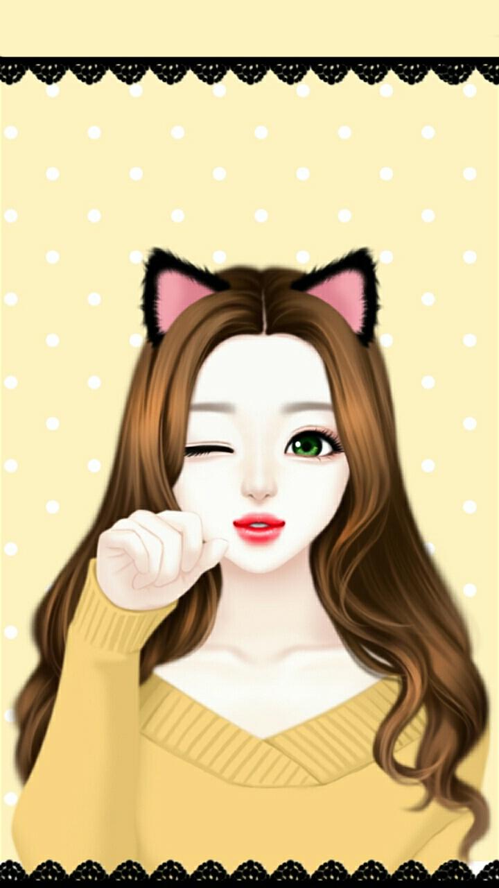 Enakei, Wallpapers, And Lovely Girl Image - Lovely Girl Korean Wallpaper Cute Girl Cartoon , HD Wallpaper & Backgrounds