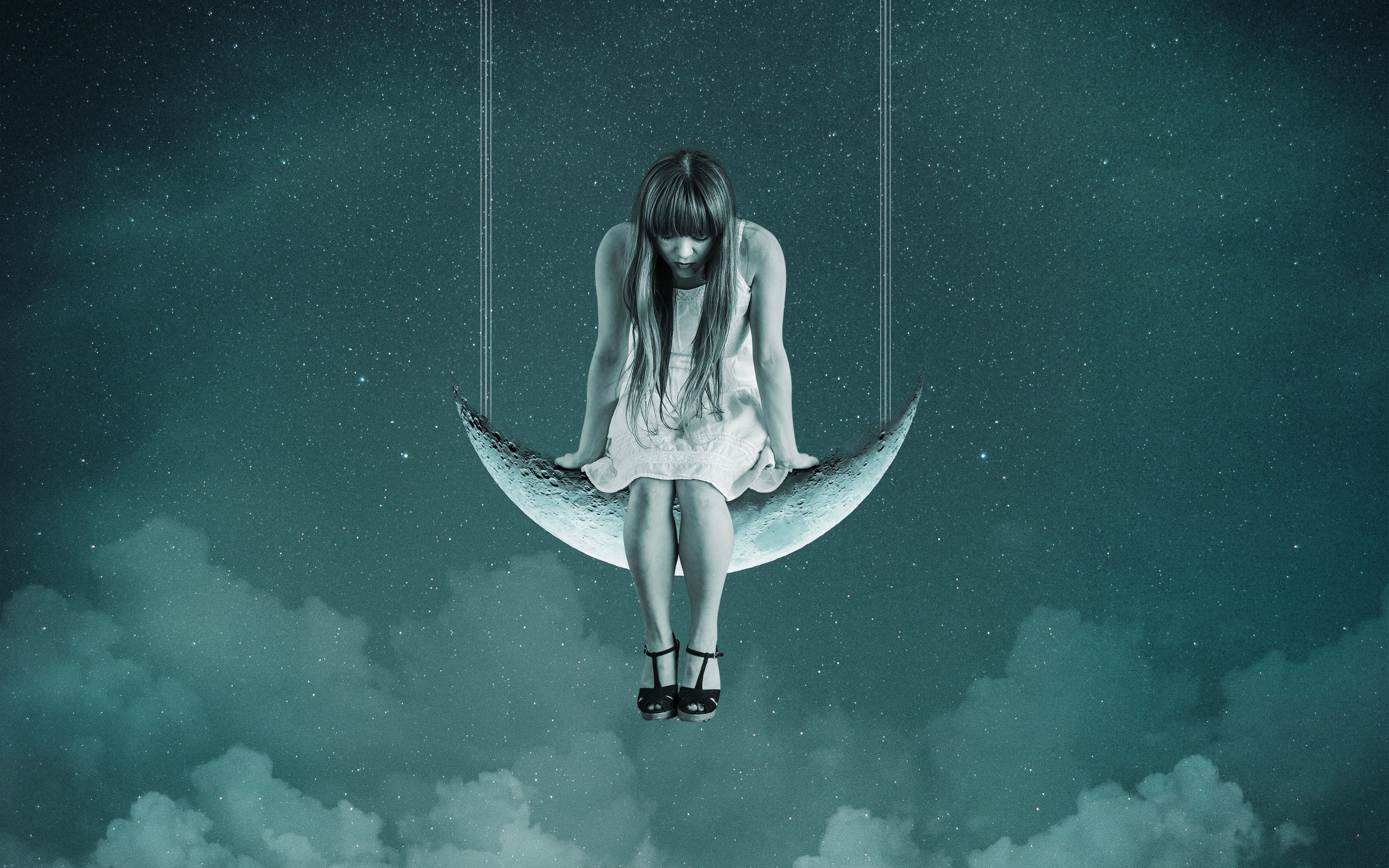 Wallpaper Girl, Moon, Sky, Swing, Photoshop - Don T Hide Your Madness , HD Wallpaper & Backgrounds