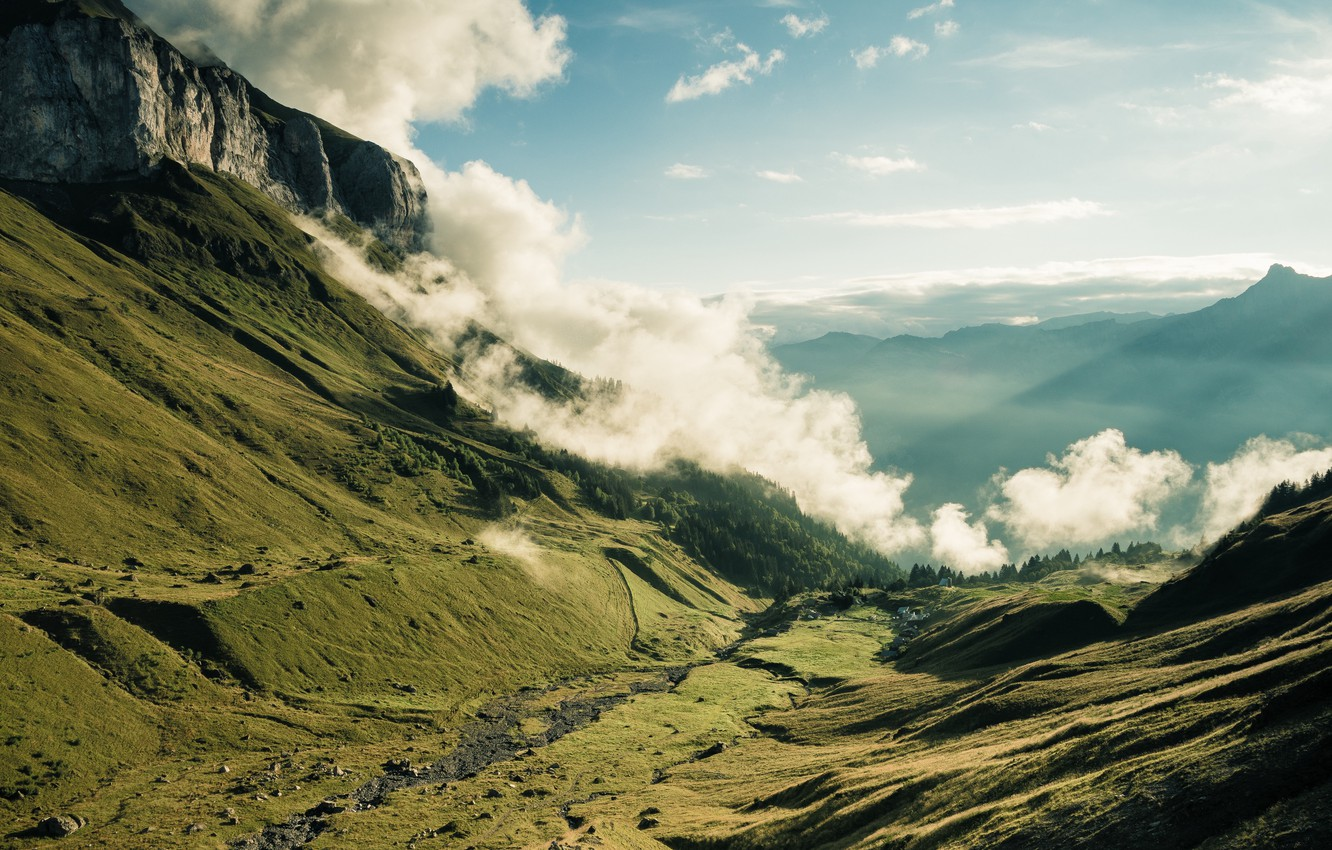 Photo Wallpaper Nature, France, Mountains, Clouds, - Wallpaper , HD Wallpaper & Backgrounds
