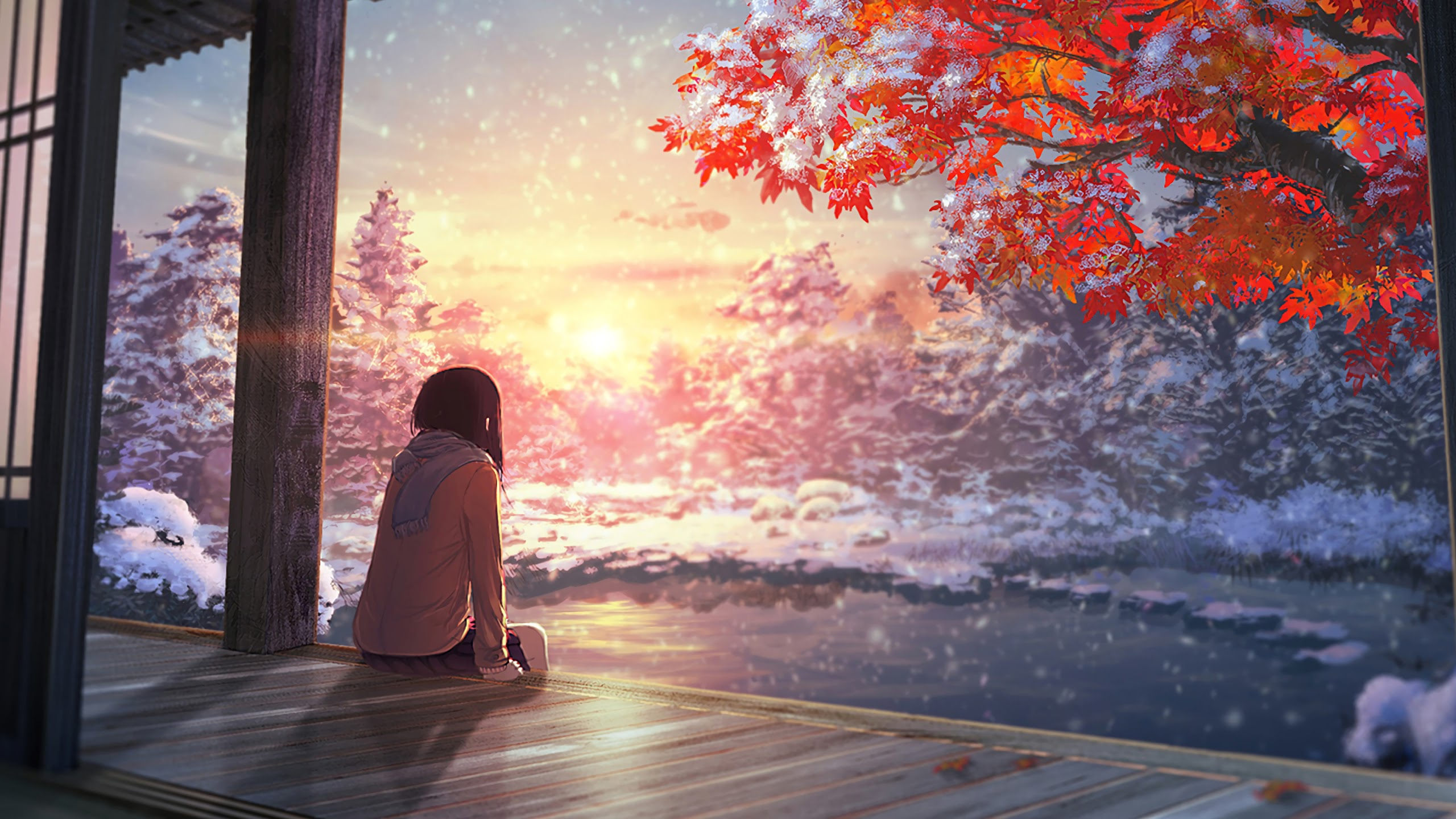 Anime Scenery Autumn Sunset 4k 3840x2160 Anime Scenery 3135216 Hd Wallpaper Backgrounds Download