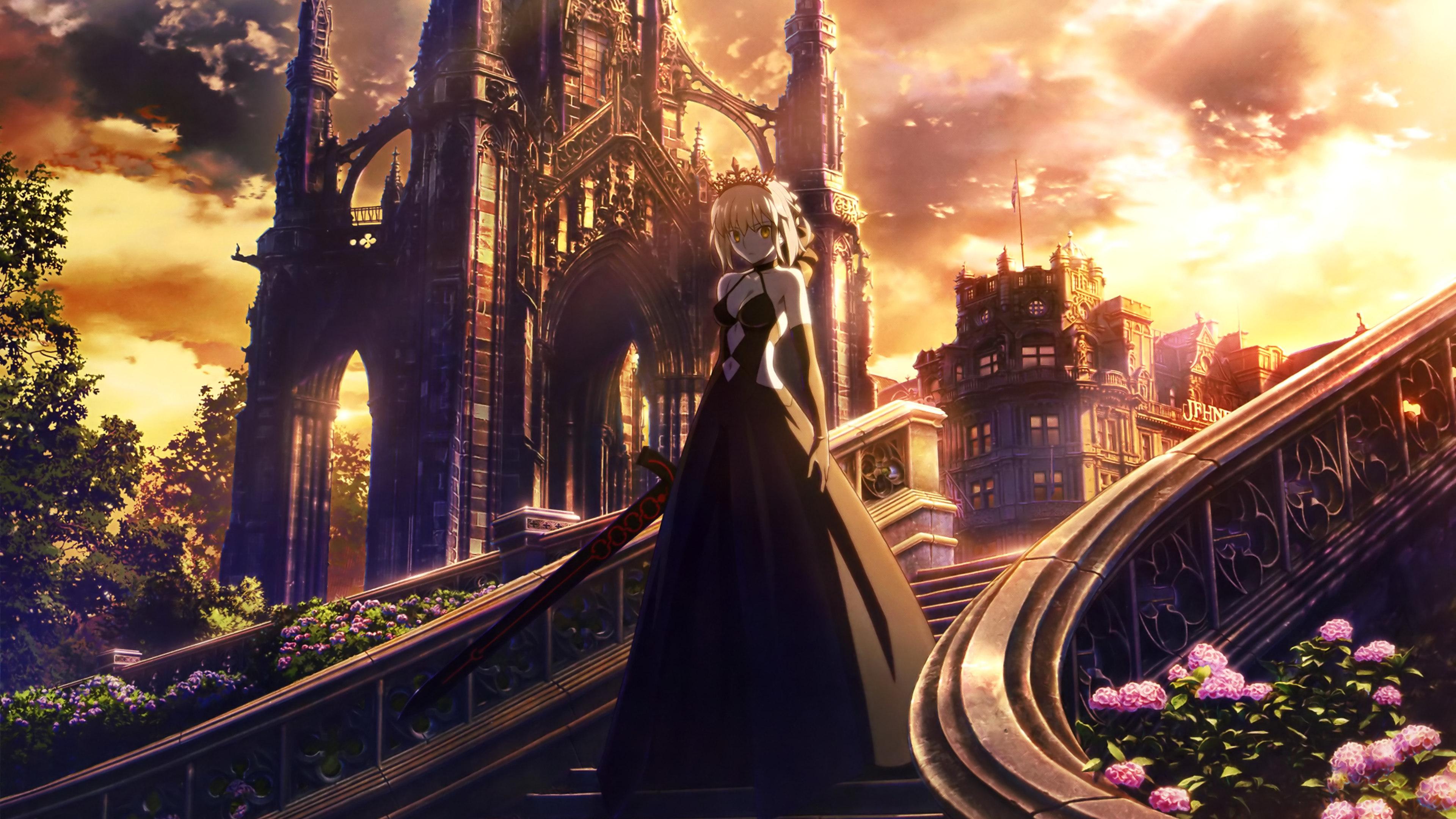 Fate Stay Night Anime Girl Walking Through Stairs Anime Girl Wallpaper 4k 3137798 Hd Wallpaper Backgrounds Download
