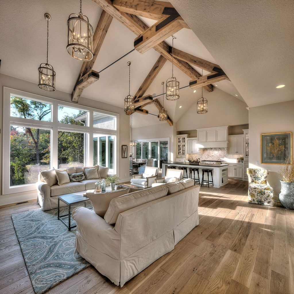 Unusual Ceiling Designs Ideas For Living Rooms44 - Vaulted Ceiling Living Room And Kitchen , HD Wallpaper & Backgrounds