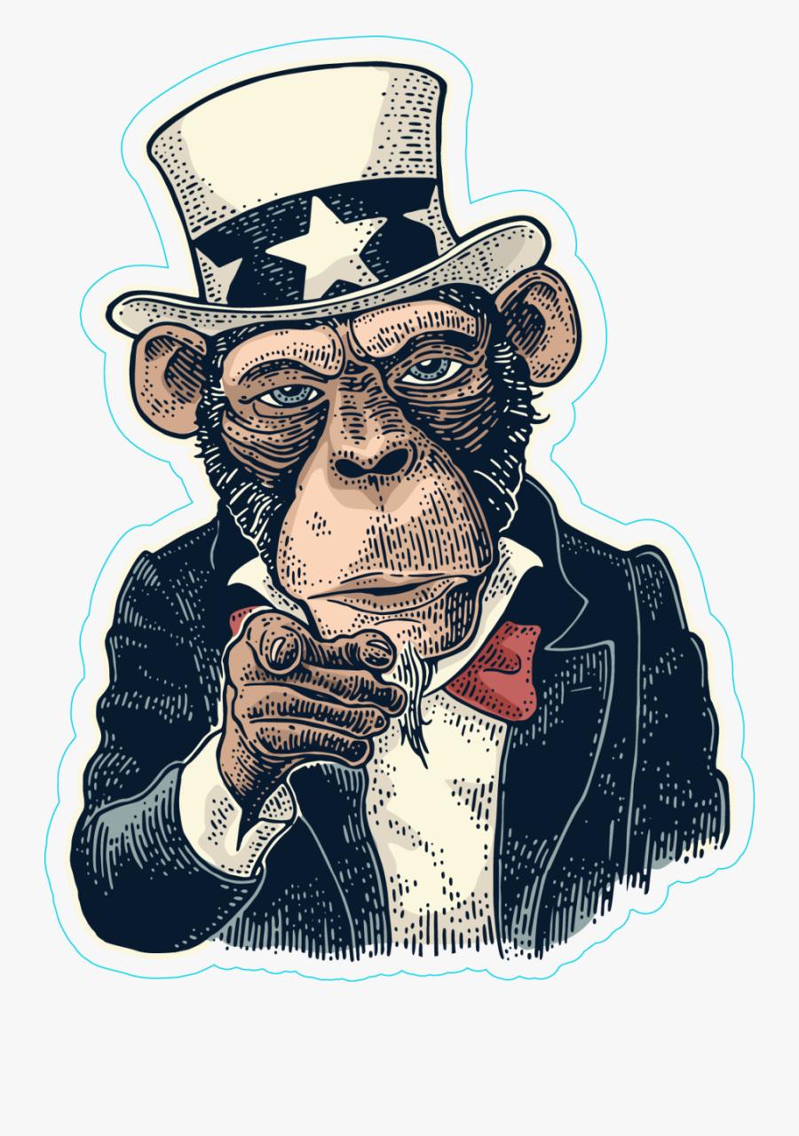 Gambar Kartun Keren Fuck, Transparent Clipart - Monkey Uncle Sam , HD Wallpaper & Backgrounds