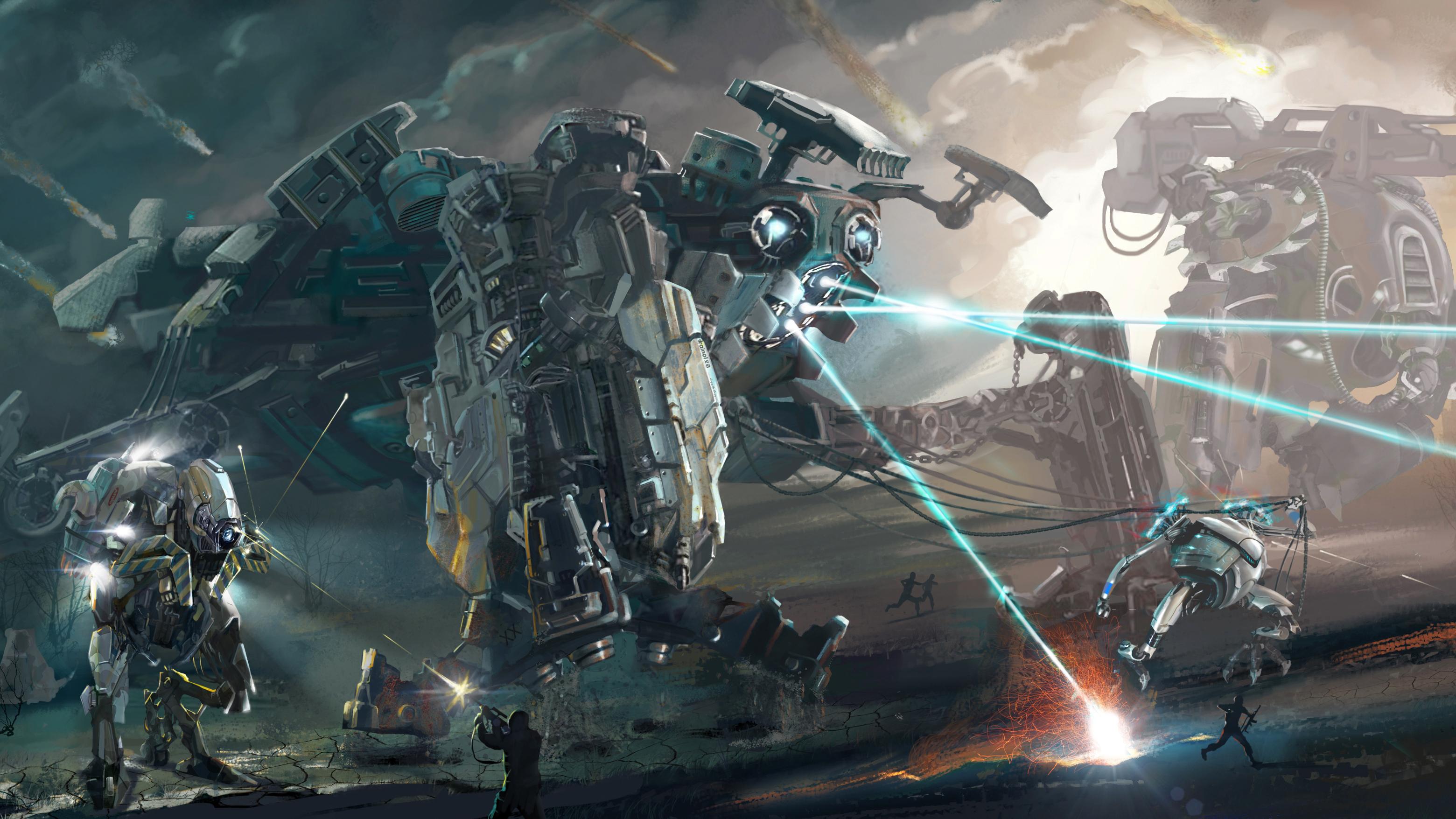 Battles Robot Firing Fantasy Robot Mecha Battle Wallpaper - Futuristic Battlefield Concept Art , HD Wallpaper & Backgrounds