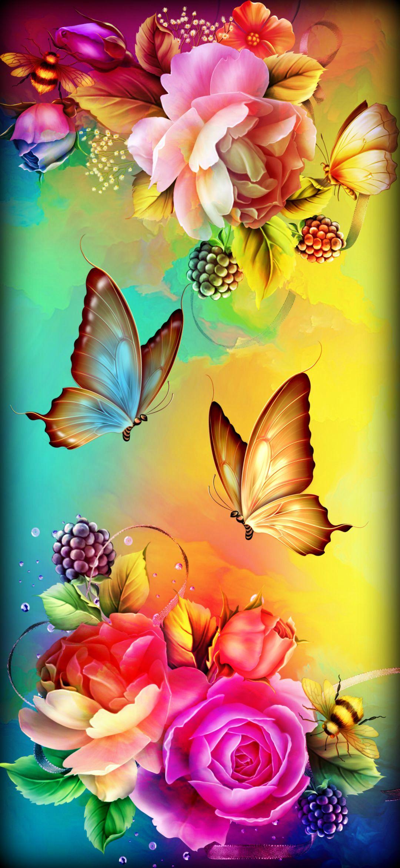 Beautiful Flowers With Butterflt , HD Wallpaper & Backgrounds