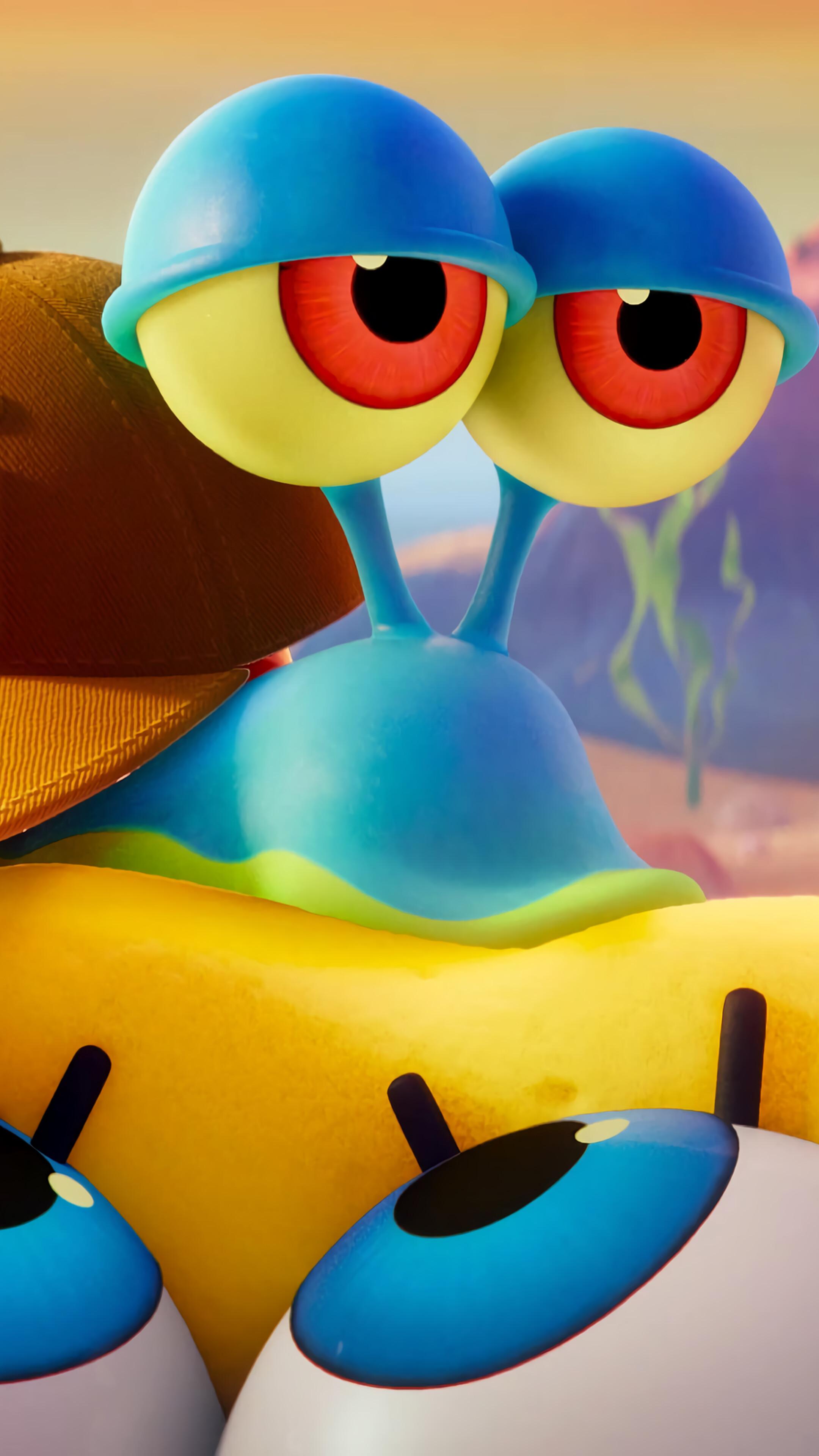 Spongebob, Gary, Spongebob Sponge On The Run, 4k Iphone - Spongebob Movie Gif , HD Wallpaper & Backgrounds
