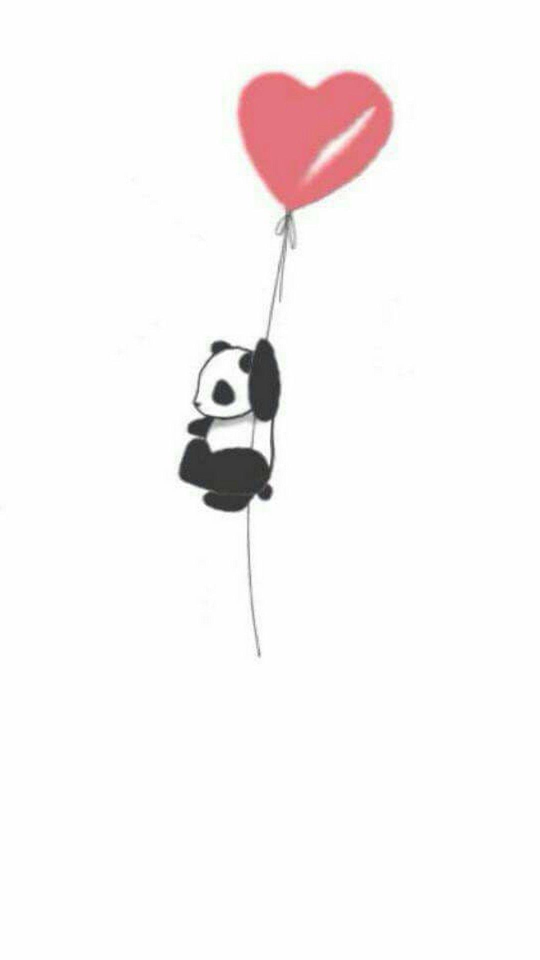 Baby Panda Wallpaper For Phone Panda With Heart Balloon