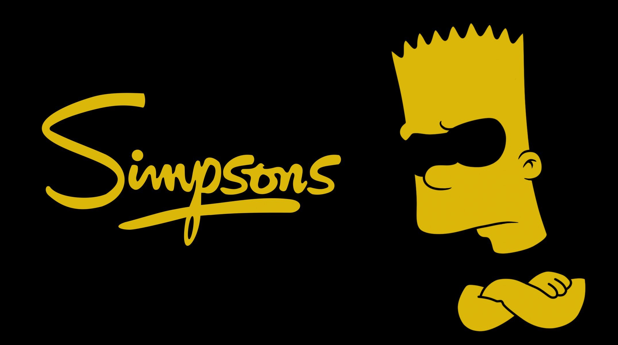 The Simpsons The Simpsons Bart Minimalism Black Yellow - Simpsons Supreme Wallpaper Pc , HD Wallpaper & Backgrounds