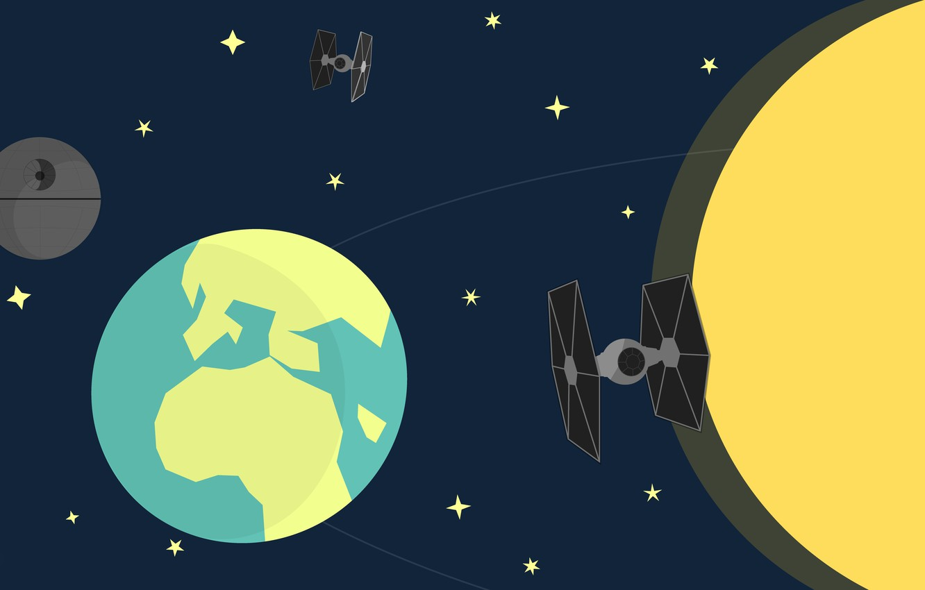 Photo Wallpaper Space The Moon Earth Star Wars Graphic