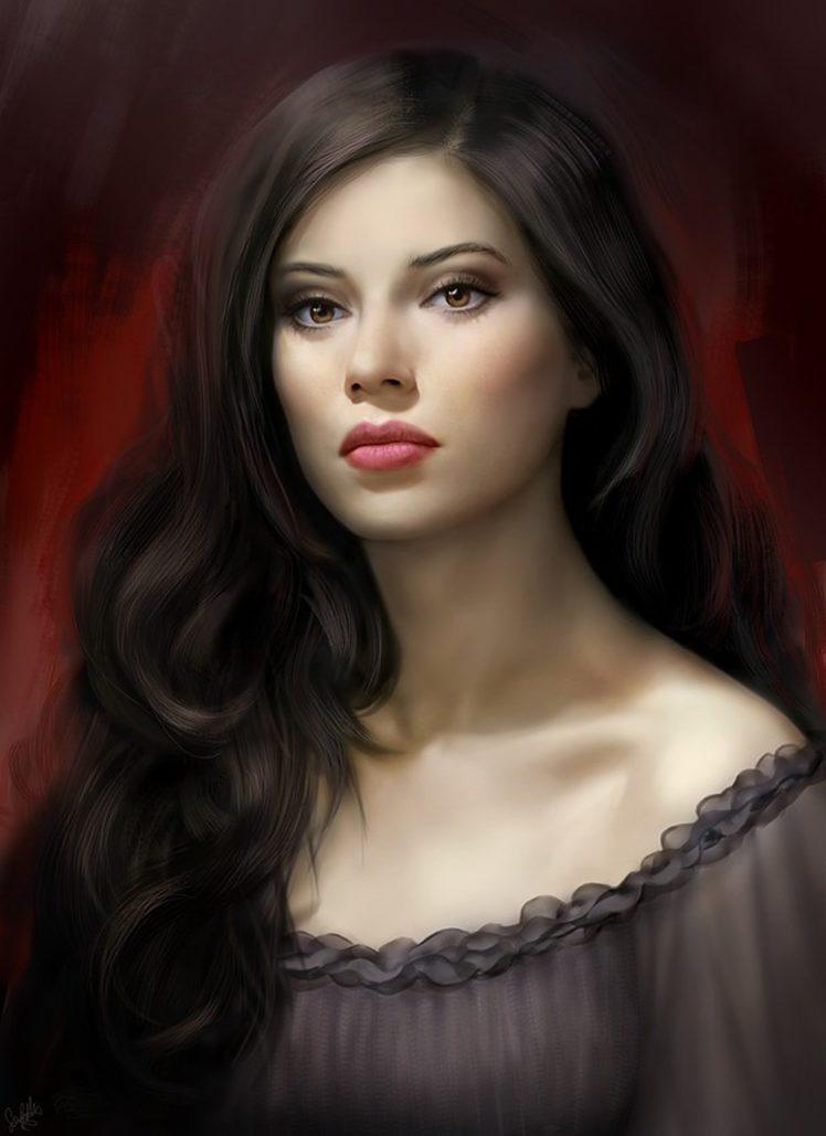 Fantasy, Dress, Long, Hair, Beautiful, Girl, Face Hd - Woman With Dark Hair , HD Wallpaper & Backgrounds