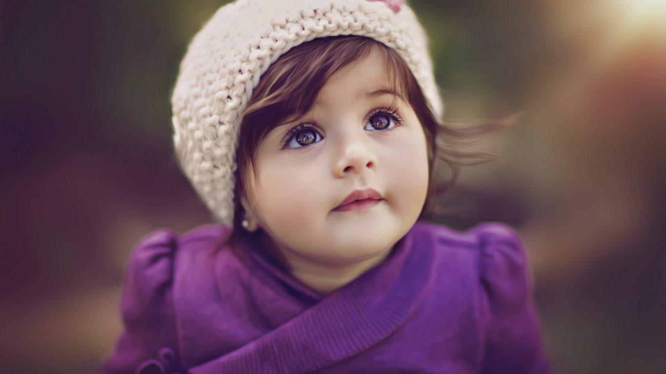 Cute Girl Baby Hd Wallpaper Cute Baby In Purple Dress