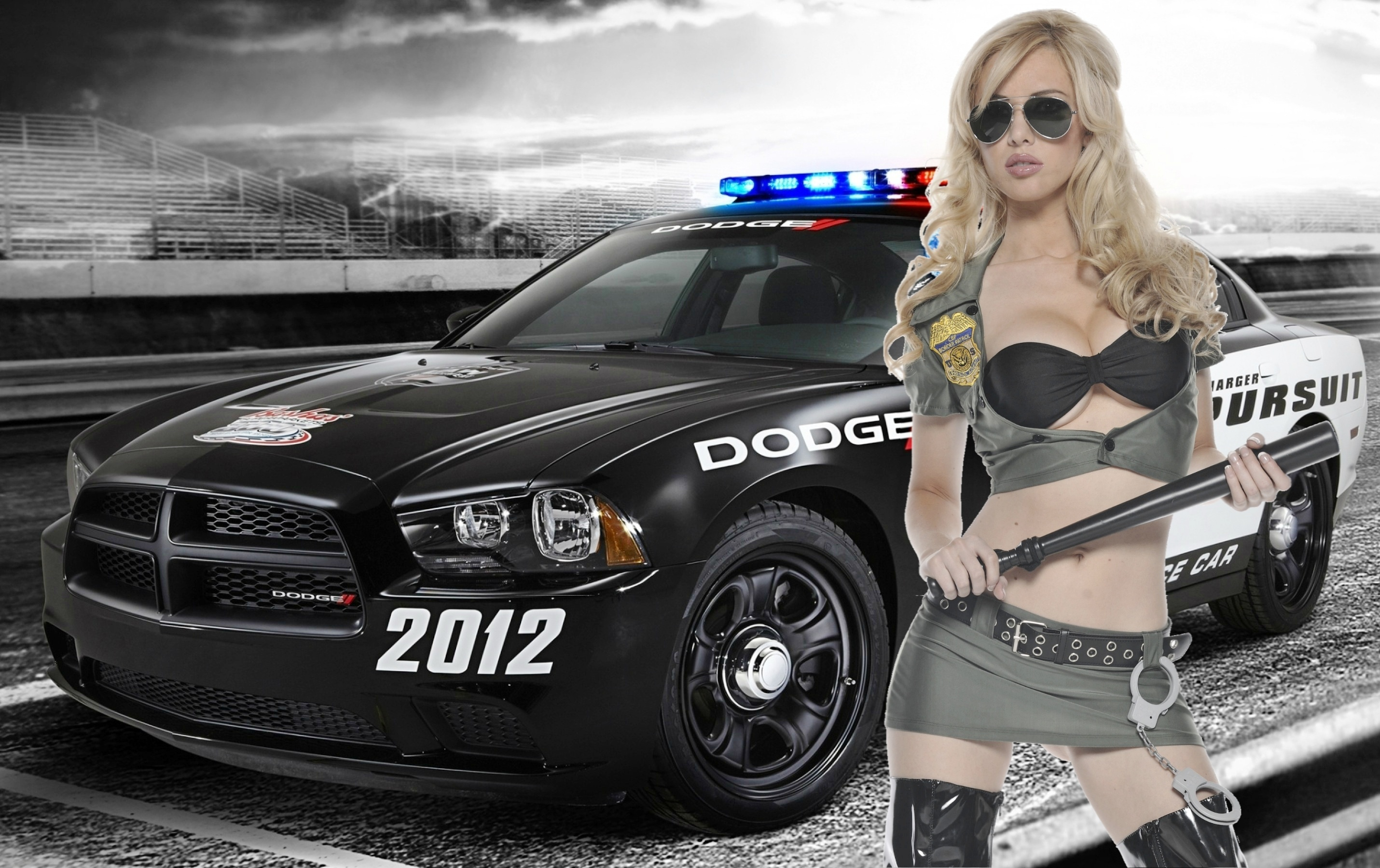 Girl, Blonde, Car, Uniforms, Machine, Form, Handcuffs, - Police Car And Girl , HD Wallpaper & Backgrounds